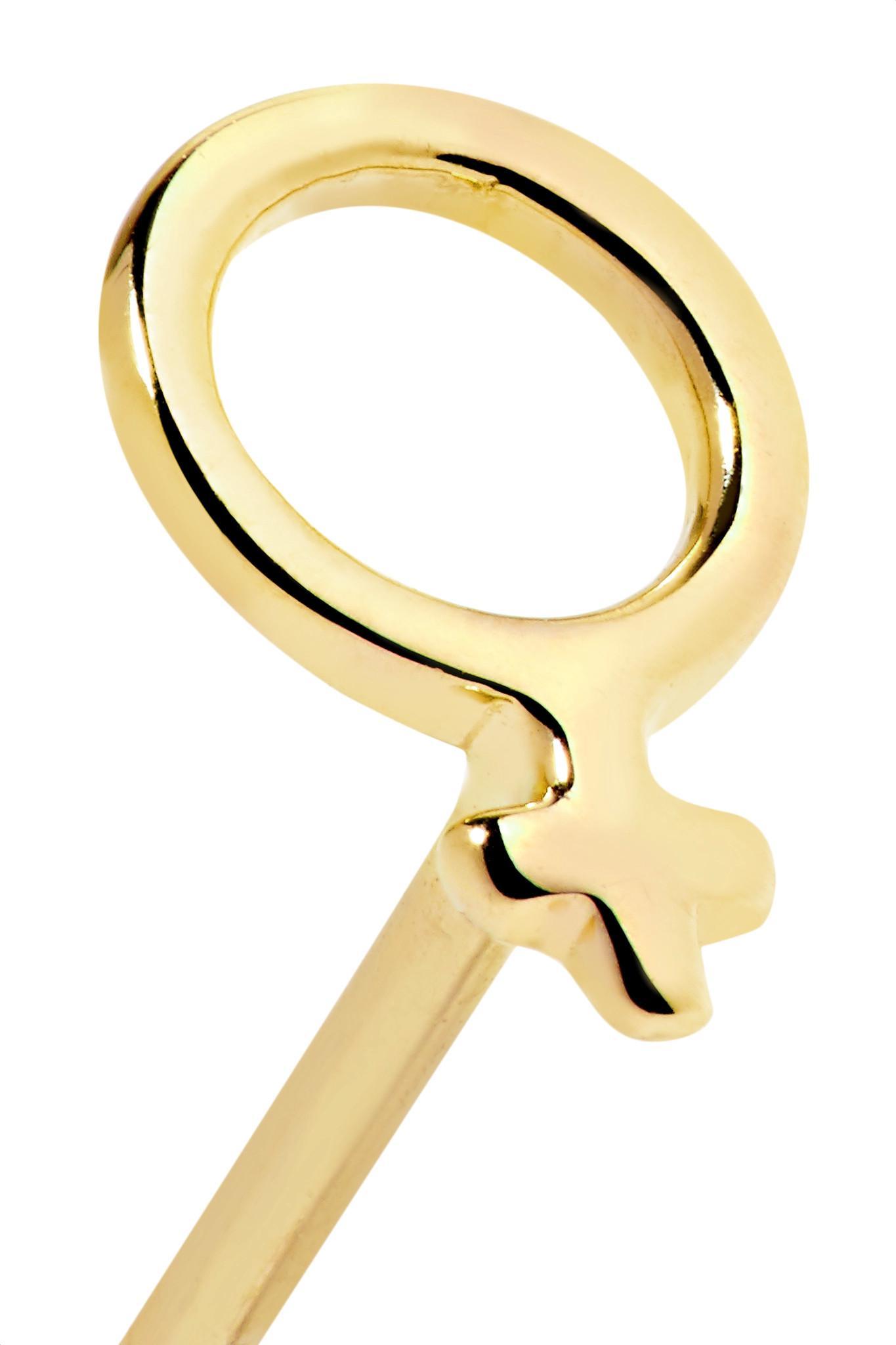 Lyst Alison Lou Girl Power 14 Karat Gold Earring In Metallic