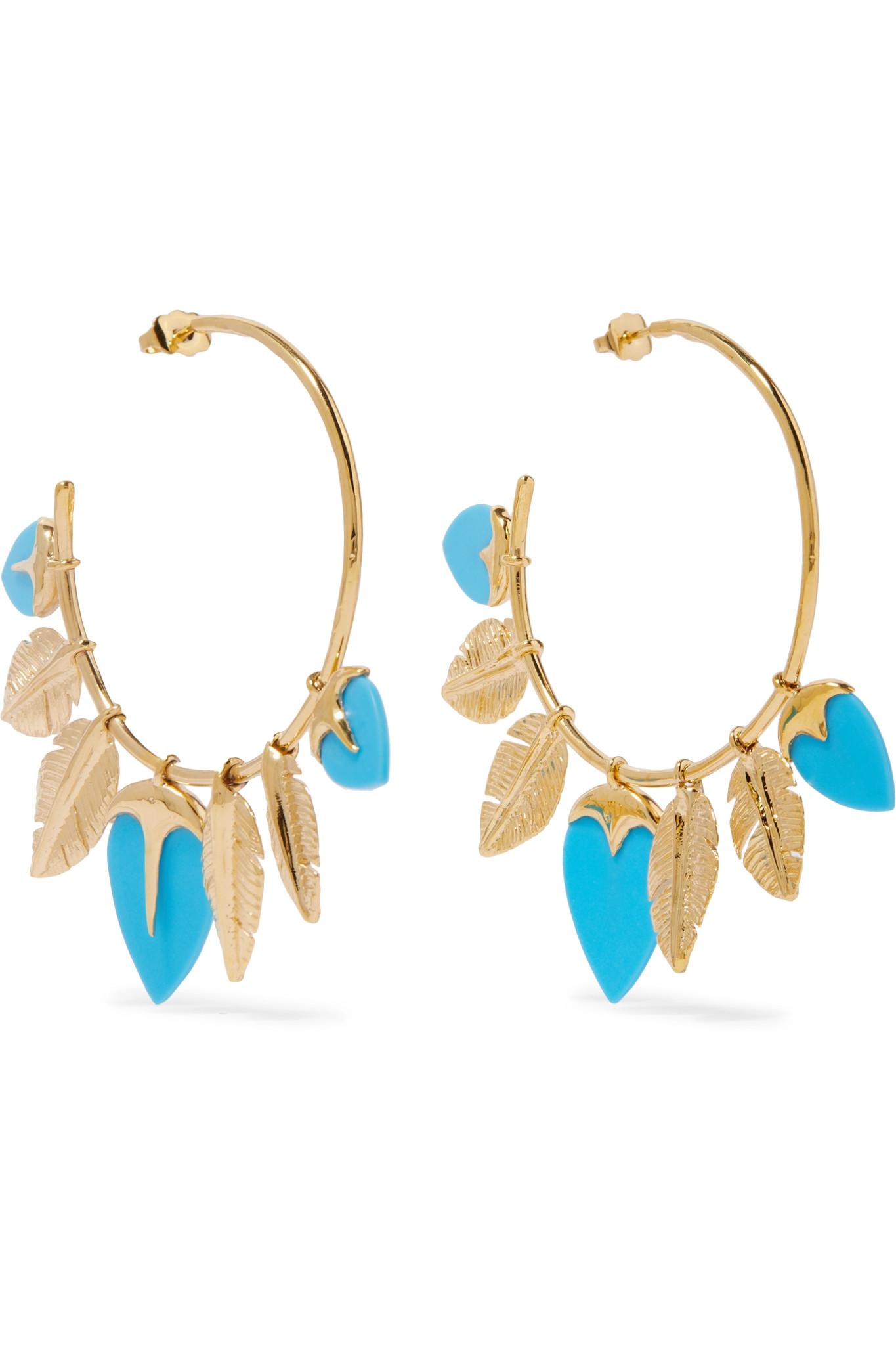 Aurélie Bidermann Talitha Gold-Tone Turquoise Earrings hfqKeipW5