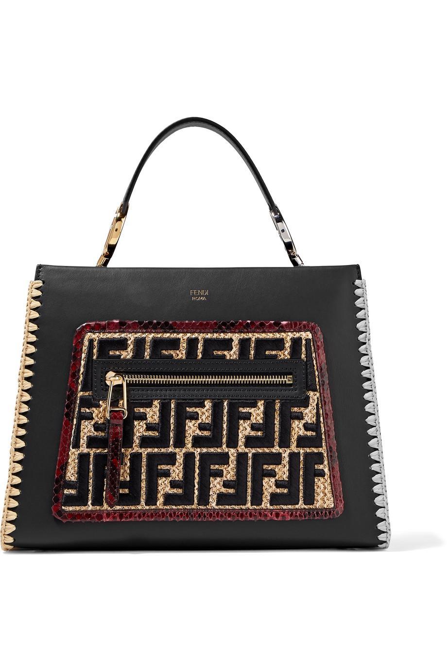 Runaway Small Python And Raffia-trimmed Leather Tote - Black Fendi HeCxTl6wi
