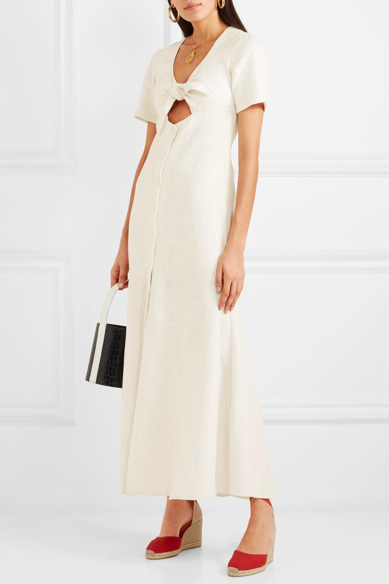 3bd7518718b Lyst - STAUD Maya Tie-front Linen-blend Maxi Dress