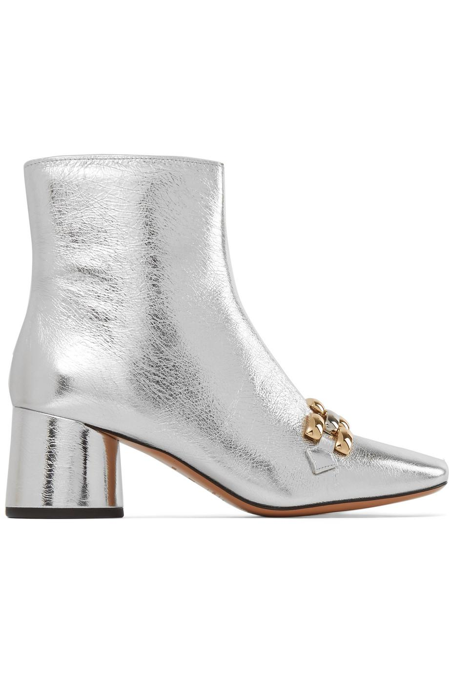 Buy Cheap New Styles Marc Jacobs Remi Chain-trimmed Metallic Leather Ankle Boots Sale For Sale LQ6kEPI