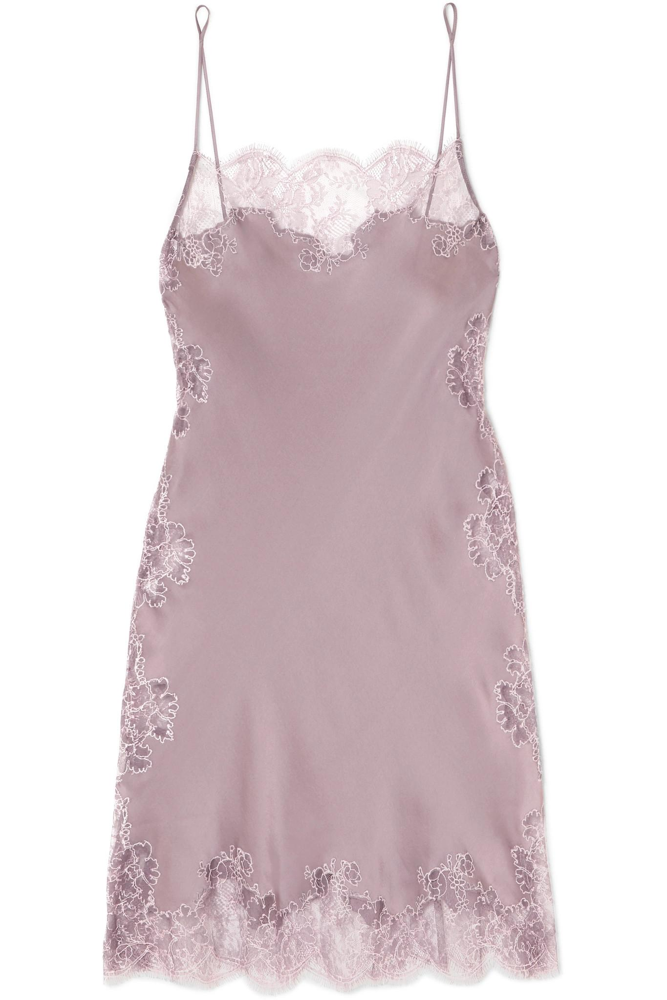 9f5380e1c829a Lyst - Carine Gilson Chantilly Lace-trimmed Silk-satin Chemise in Purple