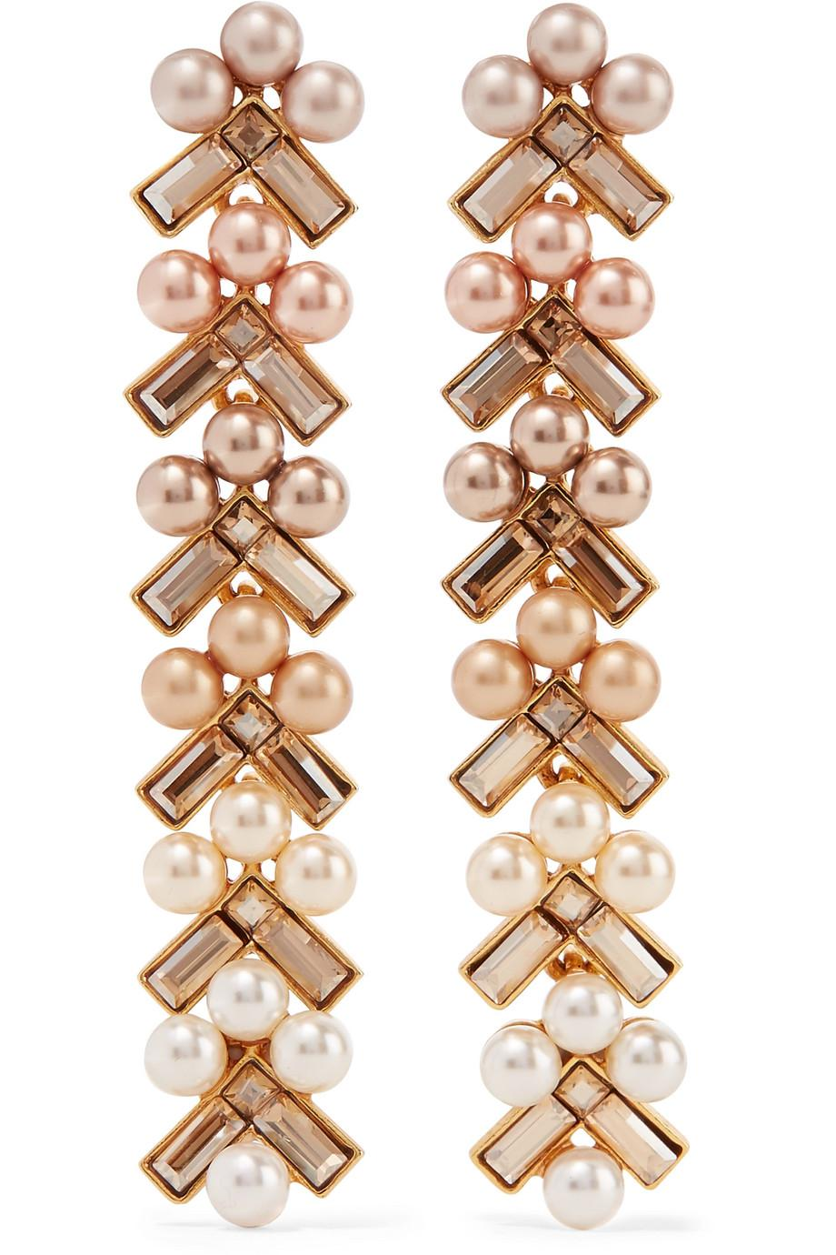 Gold-plated, Faux Pearl And Crystal Earrings - one size Oscar De La Renta