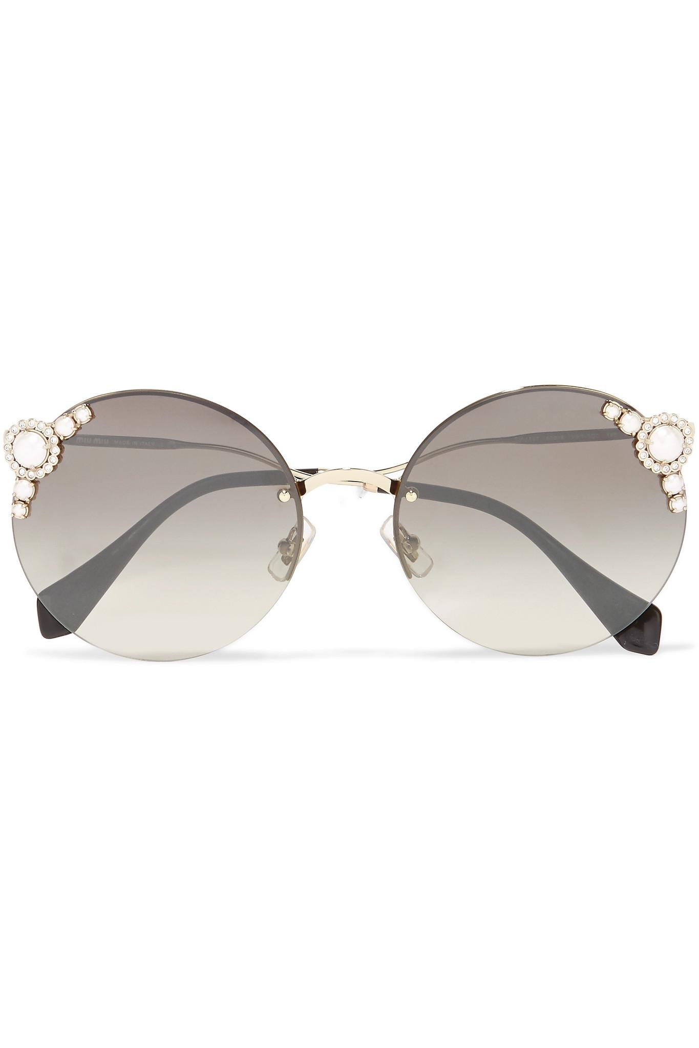 f76d4df5f833 Miu Miu Embellished Round-frame Acetate And Gold-tone Sunglasses in ...