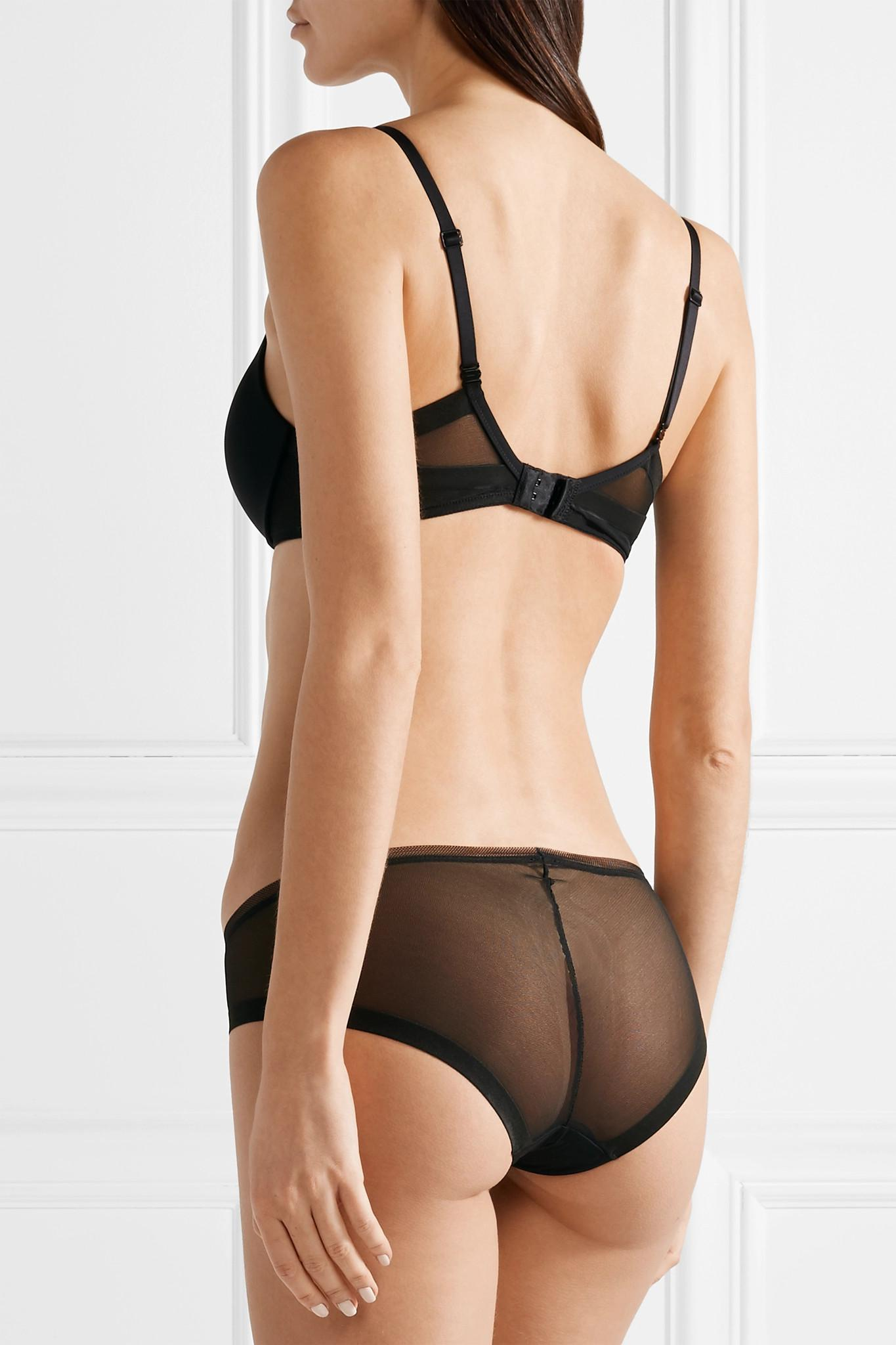 Calvin Klein - Black Sculpted Plunge Push-up Stretch-jersey And Mesh  Underwired Bra. View fullscreen 85f389331
