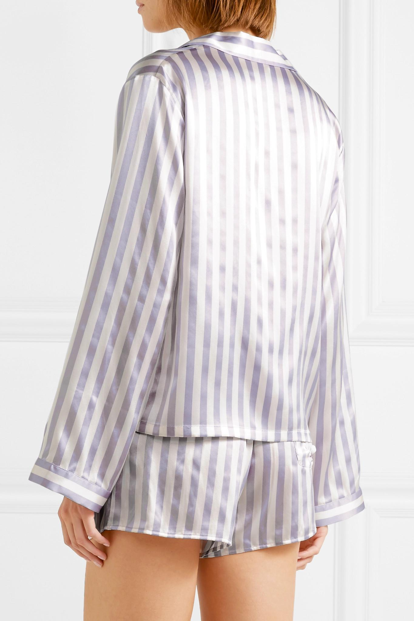 Morgan Lane - Purple + Amanda Fatherazi Ruthie Appliquéd Striped Silk-charmeuse  Pajama Shirt -. View fullscreen 8a5395470