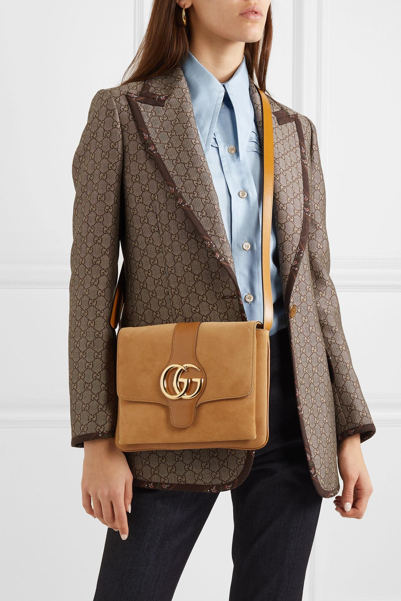 daaca79d154 Gucci - Brown Arli Medium Leather-trimmed Suede Shoulder Bag - Lyst. View  fullscreen