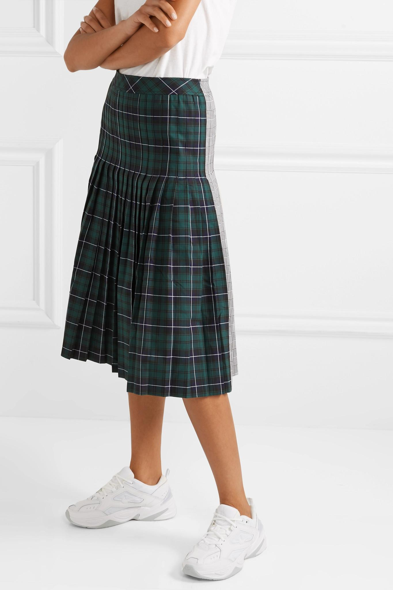 e43c625069 Lyst - Sandy Liang Checked Pleated Cotton-canvas Midi Skirt in Blue