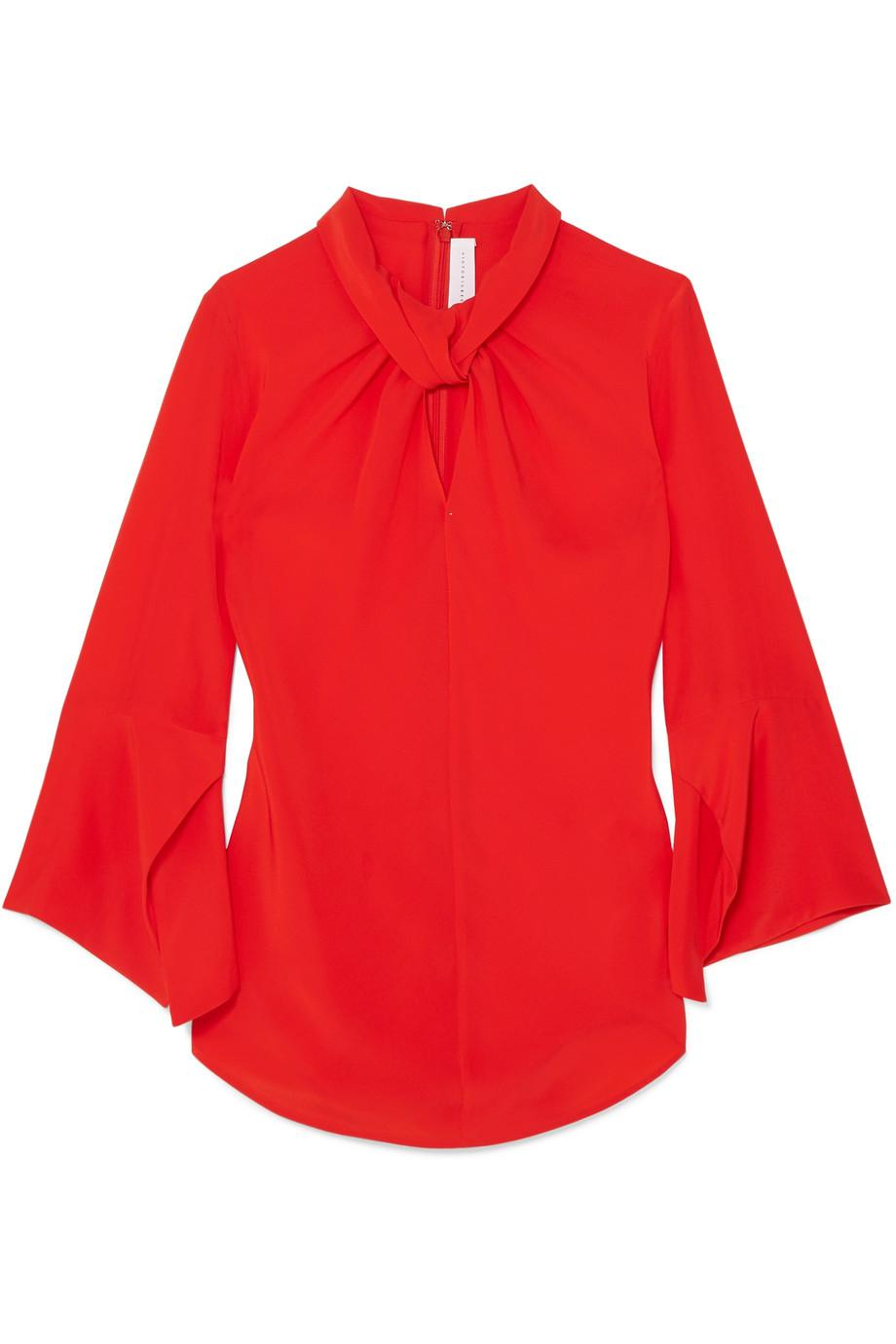 Twist-front Silk Crepe De Chine Blouse - Light blue Victoria Beckham
