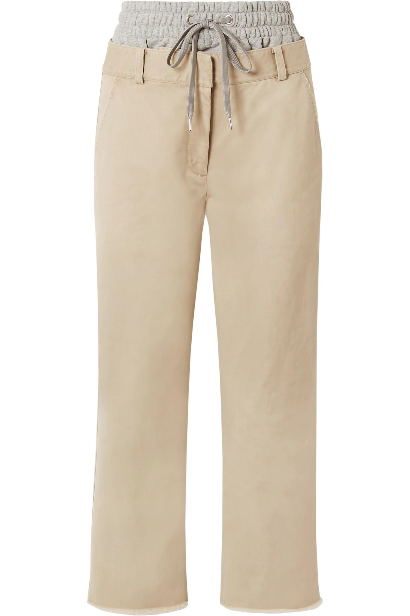Layered Cotton-gabardine And Stretch-jersey Straight-leg Pants - Beige Alexander Wang M5RPJpg