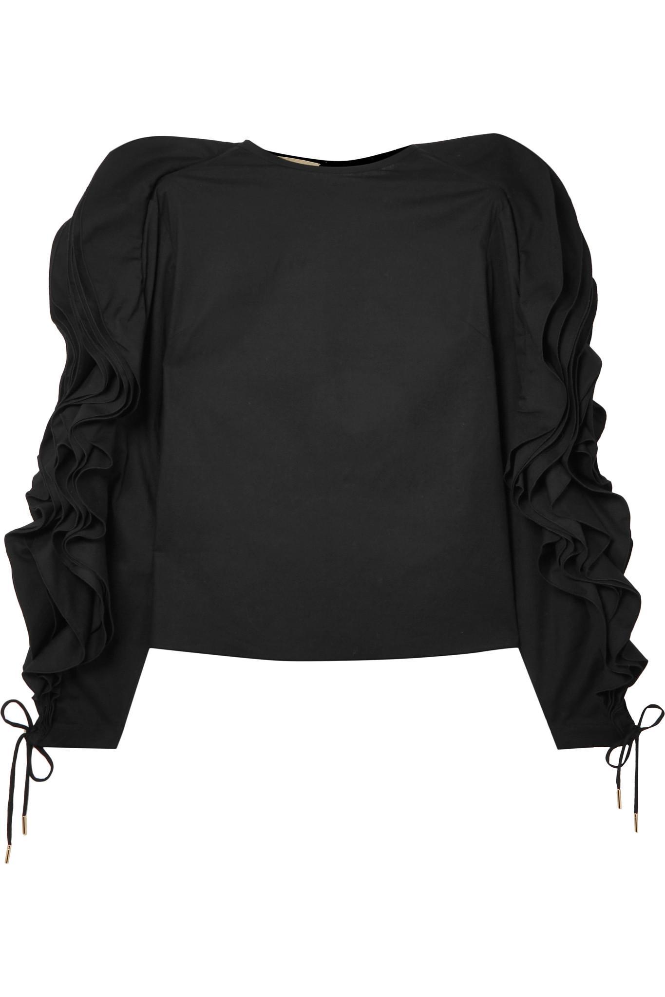 Ruffled Lace-up Cotton-blend Poplin Blouse - Black Antonio Berardi Buy Cheap Deals Cheap Sale Big Sale Find Great Cheap Online Buy Cheap Visit Discount Amazing Price UxDzjYL