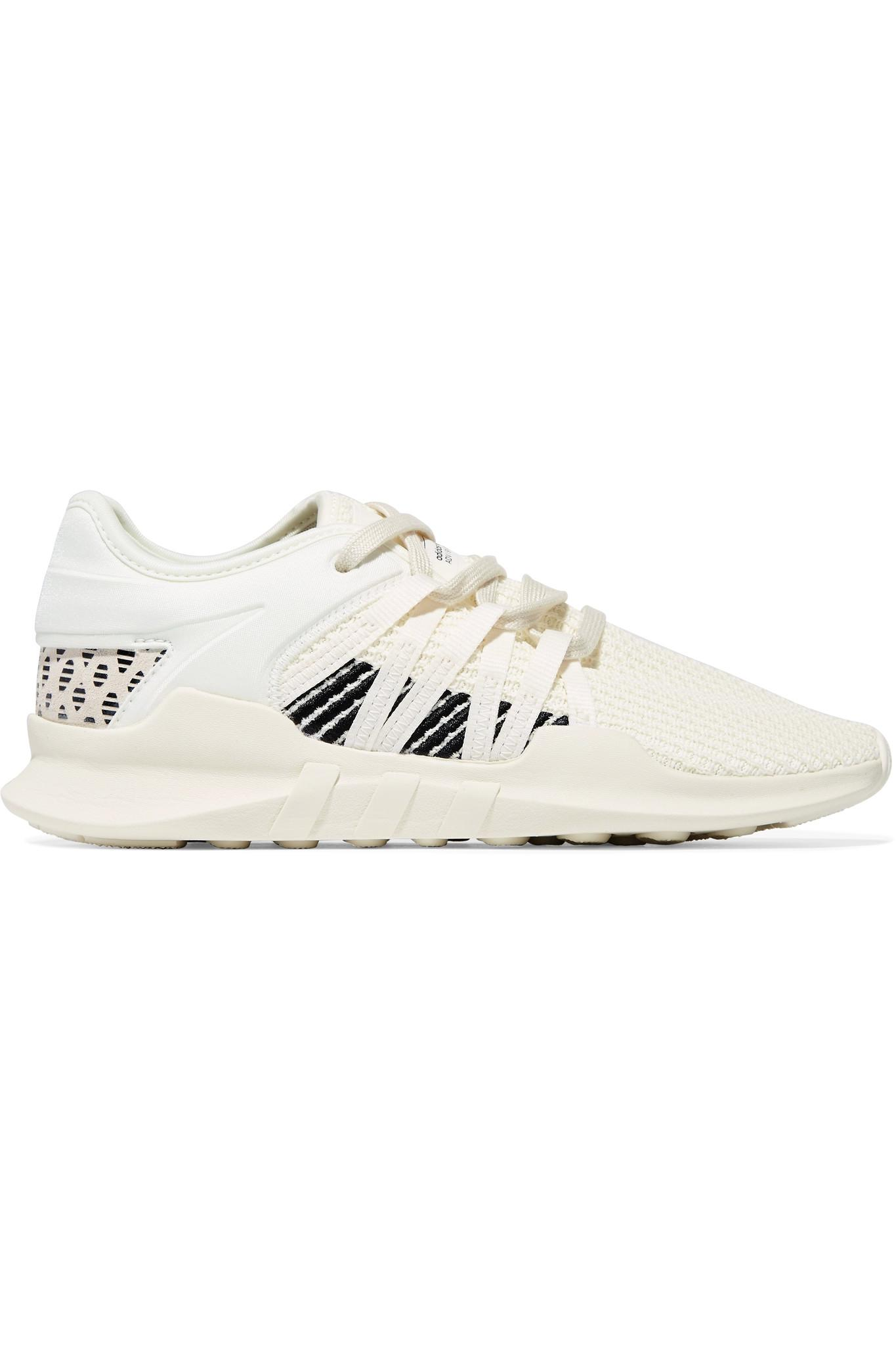 ad360f8f187d0d adidas Originals. Women s White Eqt Racing Adv Faux Suede-trimmed Stretch- knit And Neoprene Sneakers