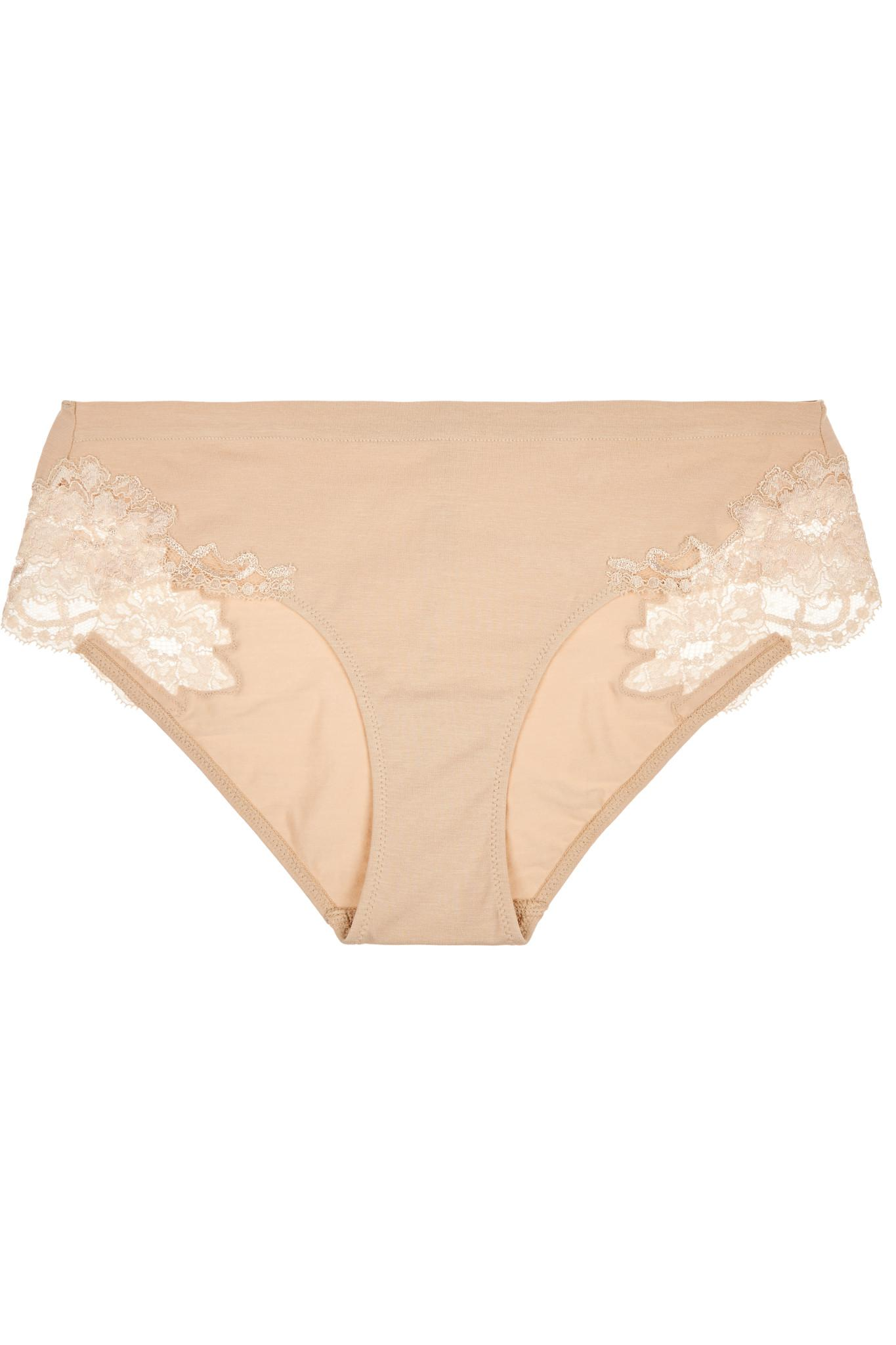 Souple Lace And Stretch-cotton Jersey Briefs - Beige La Perla Discount Pictures ehCkHD