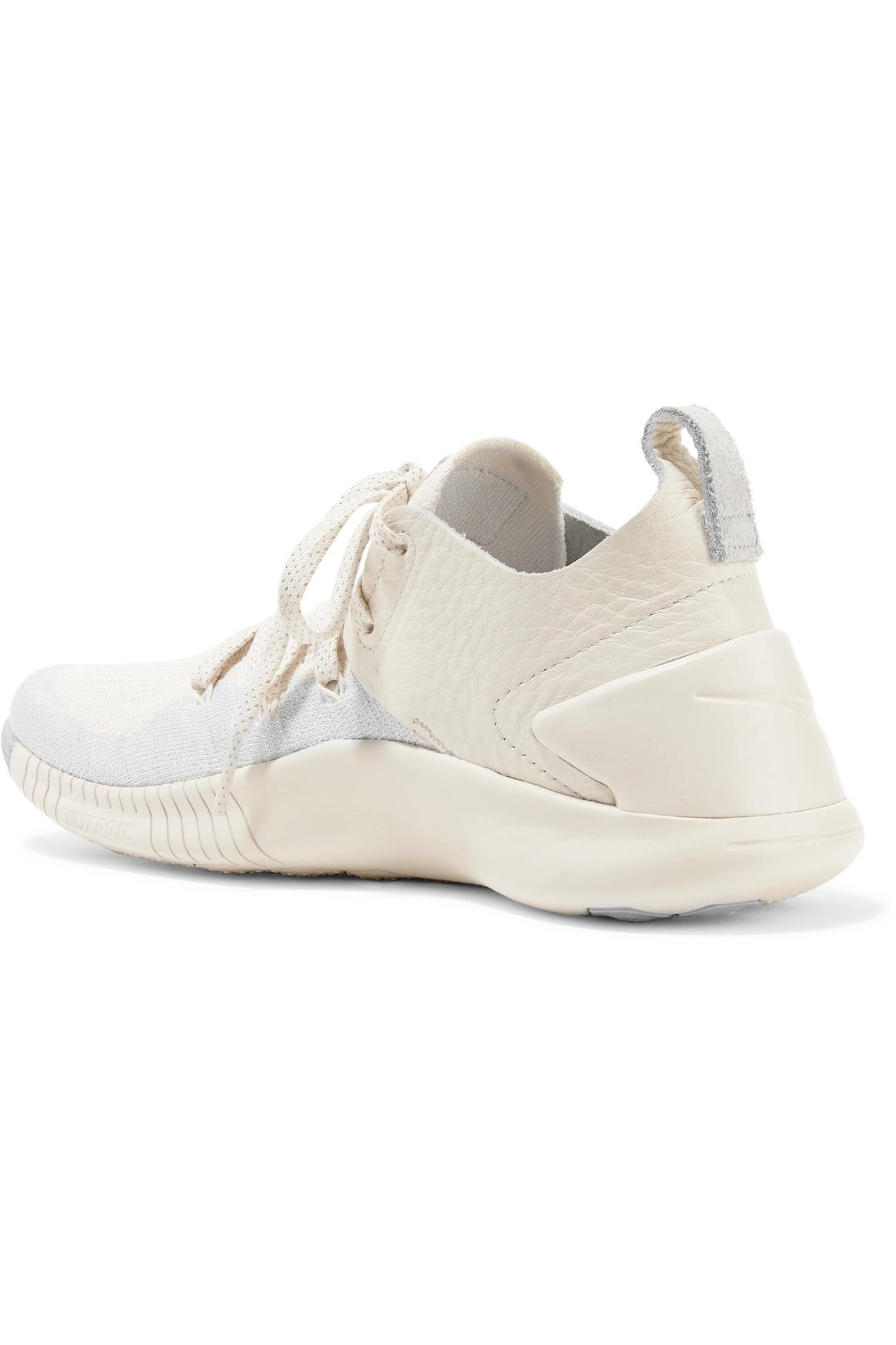 97e9613eee305 Lyst - Nike Free Tr 3 Champagne Crinkled Leather-trimmed Flyknit Sneakers