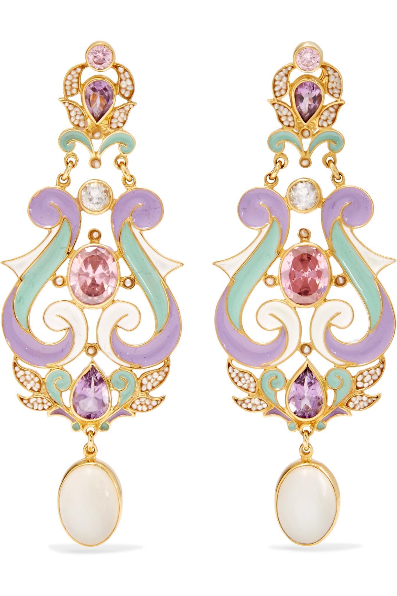 Percossi Papi Gold-plated And Enamel Multi-stone Earrings - Blue mawtLsRj