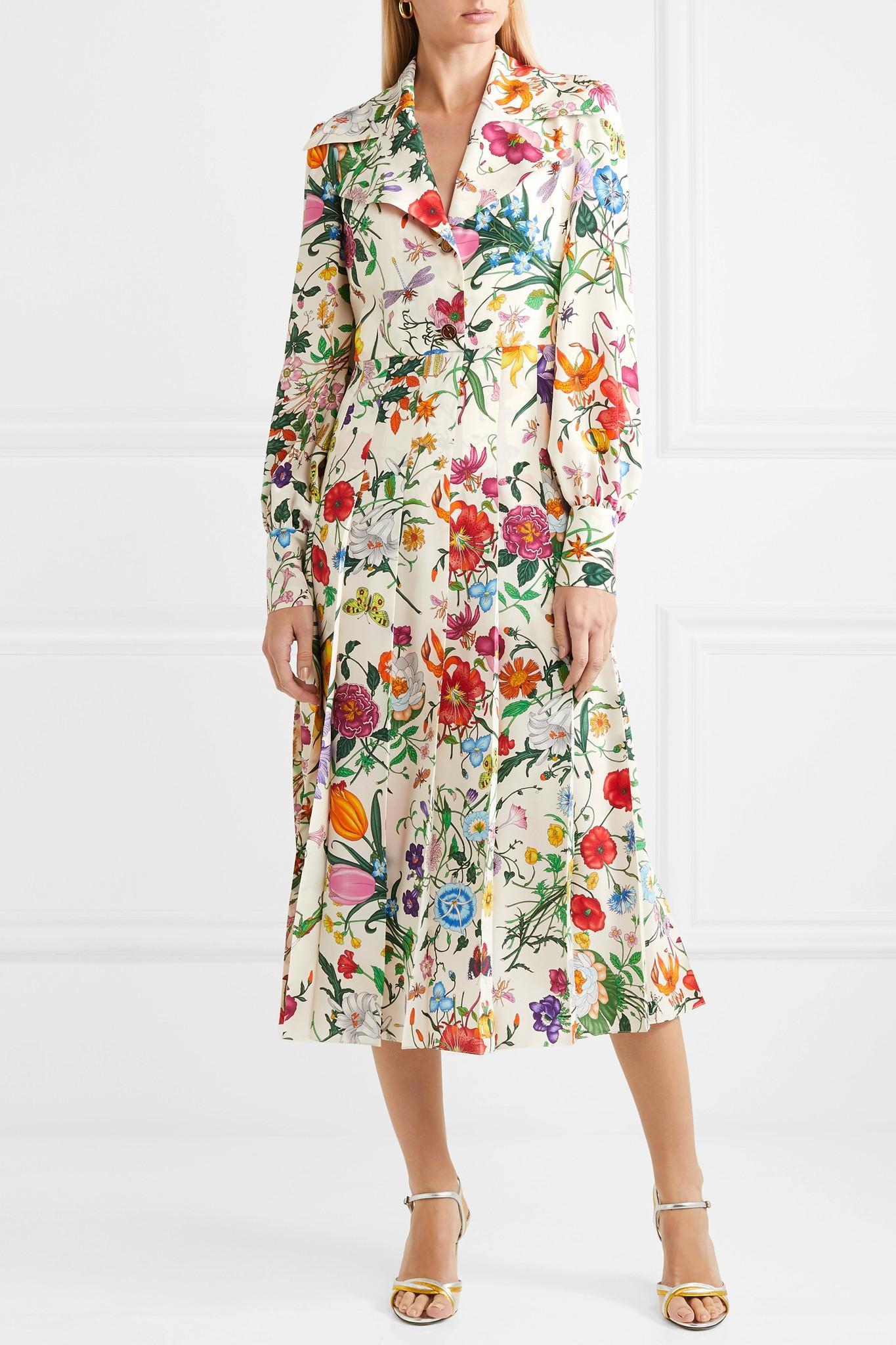dca63b00f86e1e Gucci Floral Print Silk Shirt Dress in White - Save 25% - Lyst