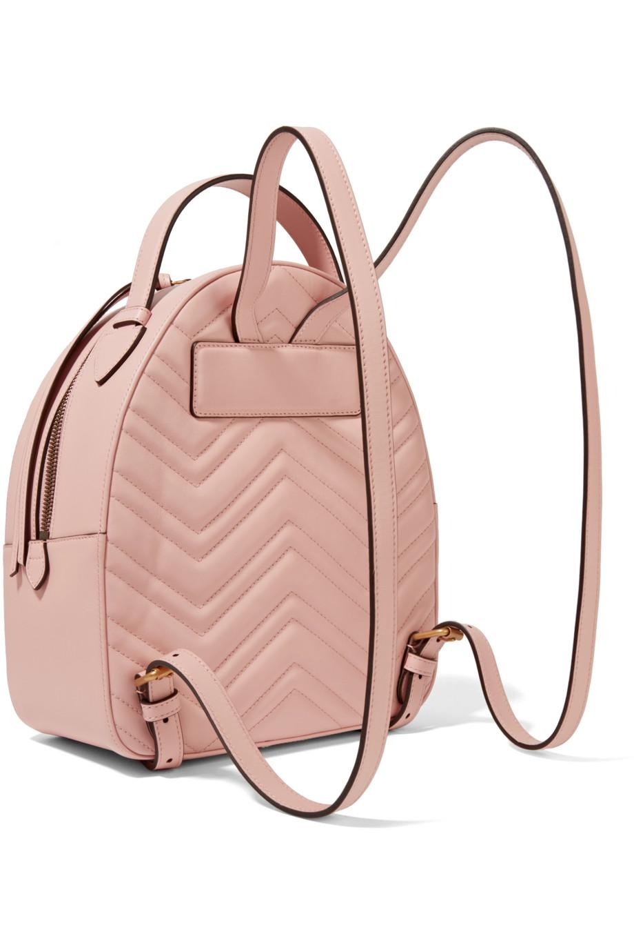 cc49cc2e1781 Lyst - Gucci Gg Marmont Quilted Leather Backpack in Pink