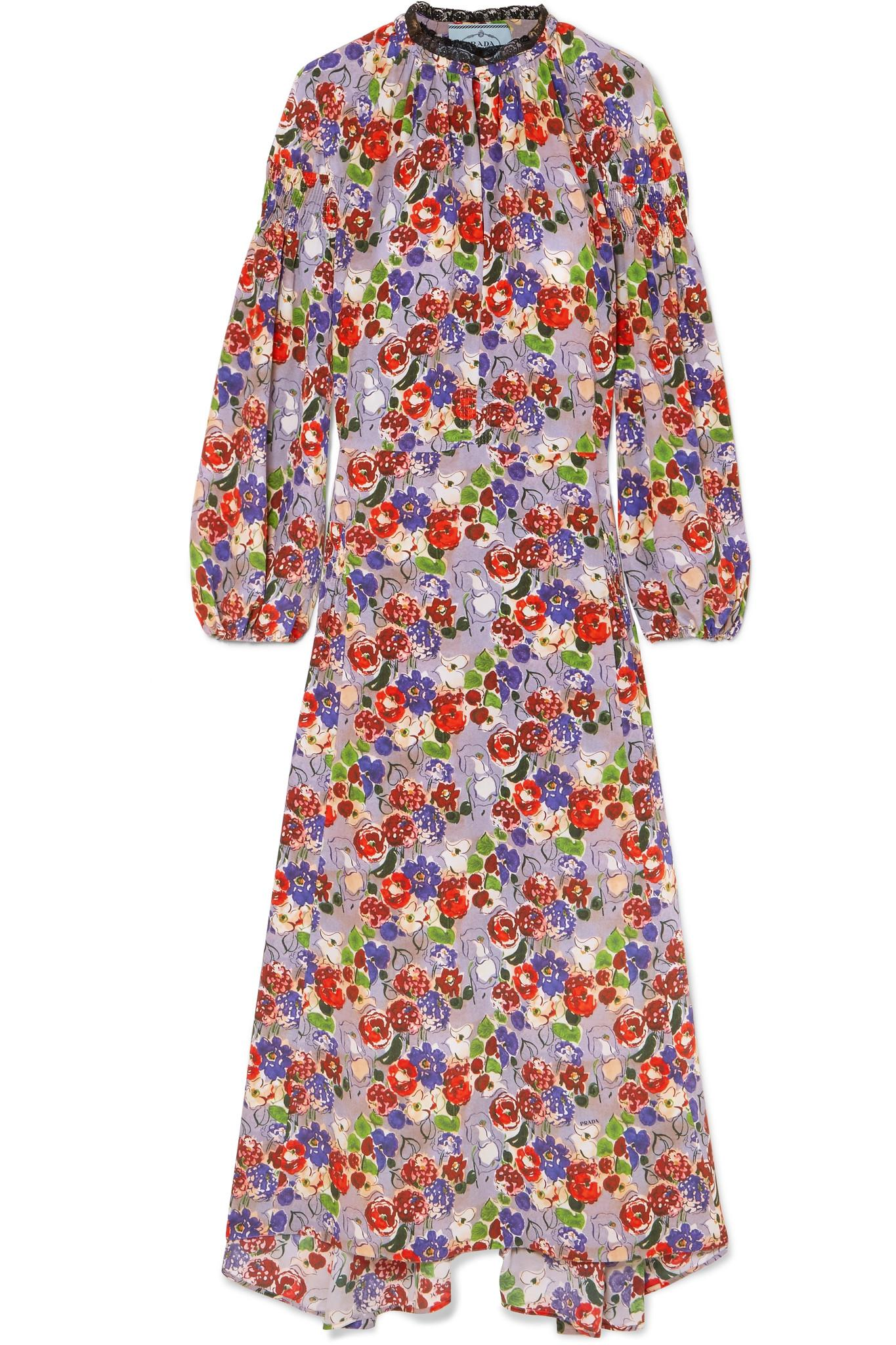 Orange 100% Original Pay With Paypal Sale Online Lace-trimmed Shirred Floral-print Silk-crepe Midi Dress - Lilac Prada Outlet Eastbay Sale View 94wChG83