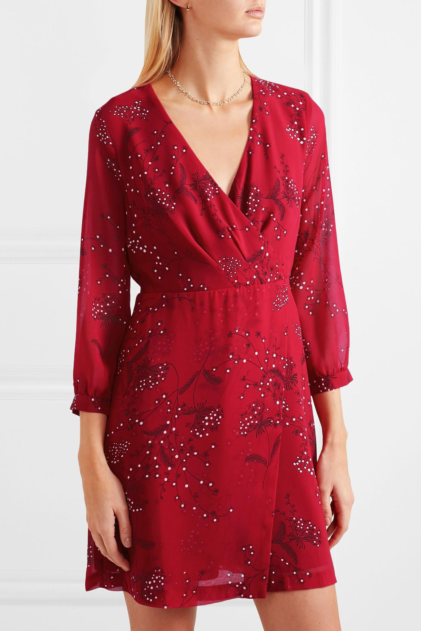 49f1e3030b Madewell - Red Wrap-effect Floral-print Crepe De Chine Mini Dress - Lyst.  View fullscreen