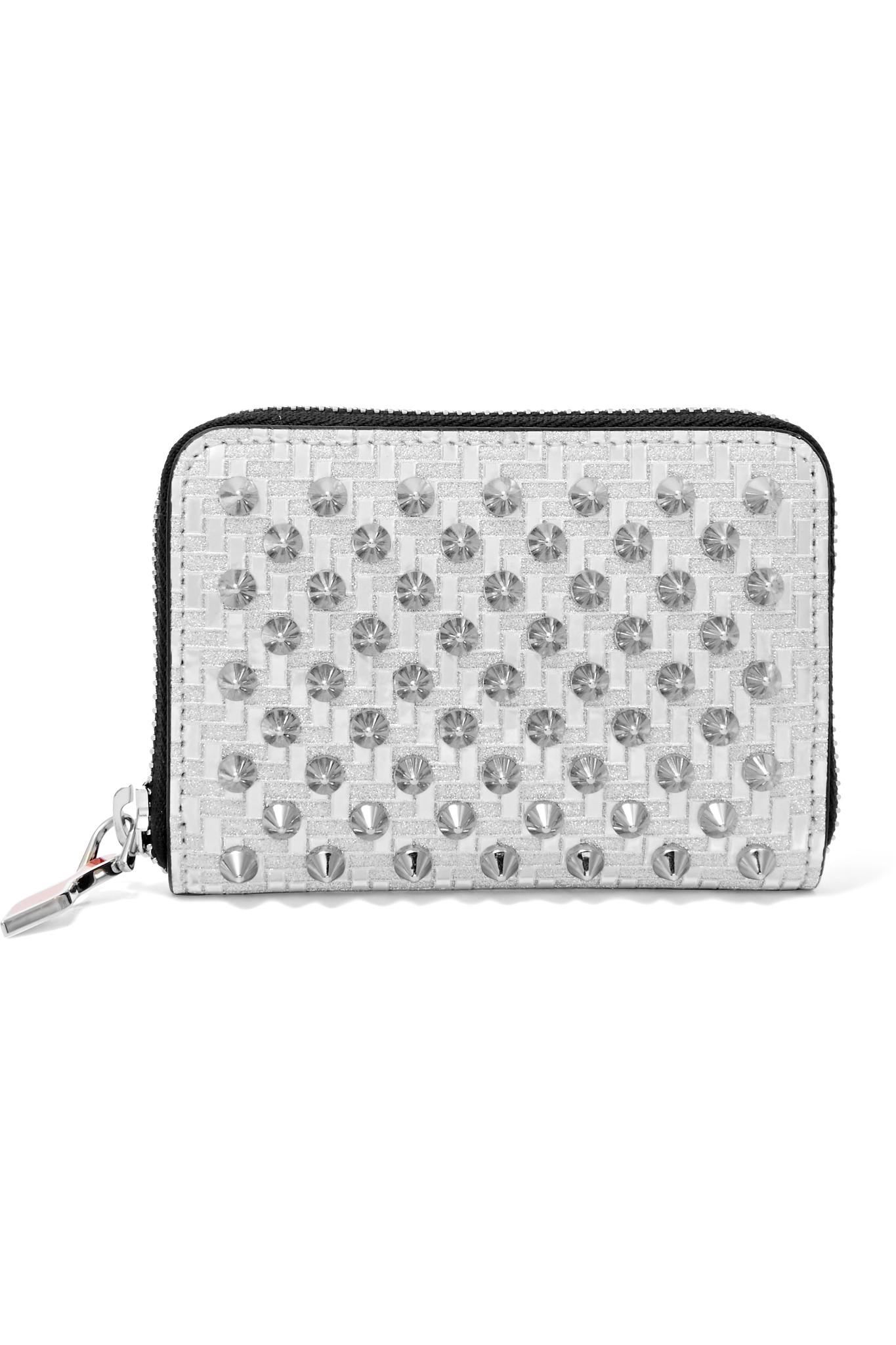 Panettone Spiked Glittered Metallic Leather Continental Wallet - Silver Christian Louboutin WkxbC7