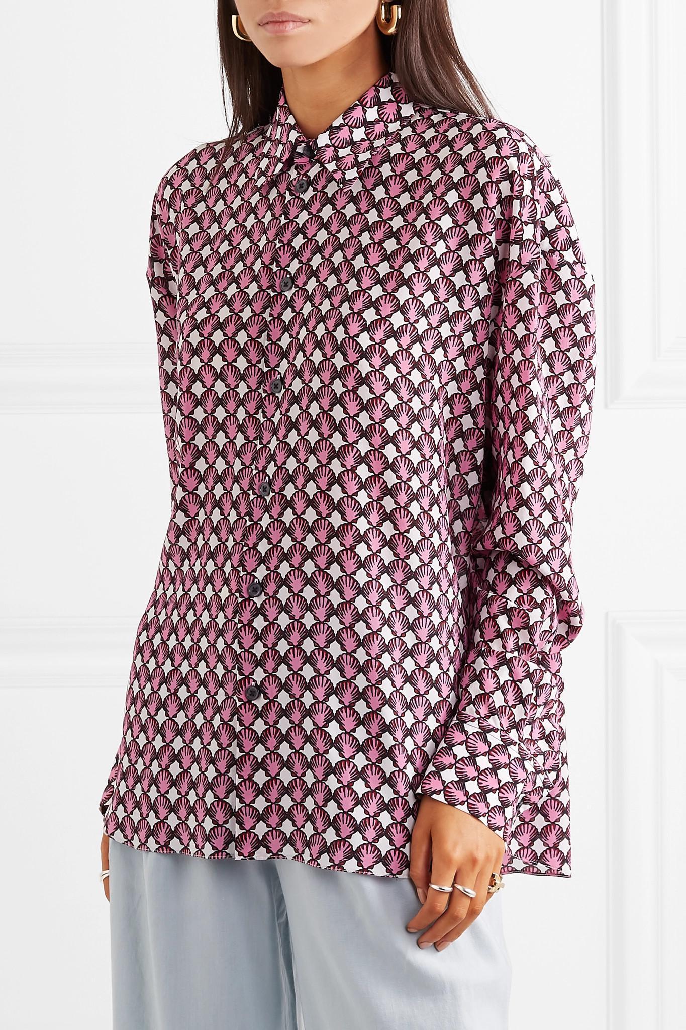 61ebe6ff86eba6 Marni - Pink Printed Silk-crepe Shirt - Lyst. View fullscreen