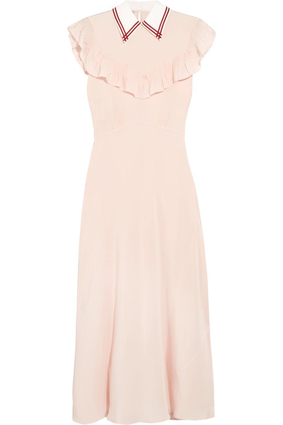 411f350b896 Lyst - Miu Miu Ruffled Silk Crepe De Chine Midi Dress in Pink