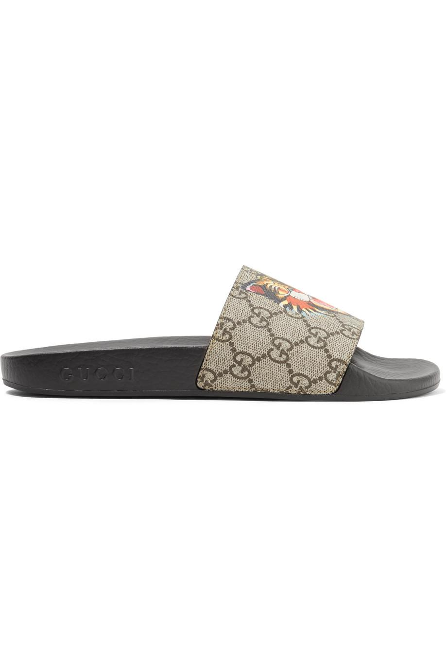 bd11e1516b3 Lyst - Gucci Printed Coated-canvas Slides