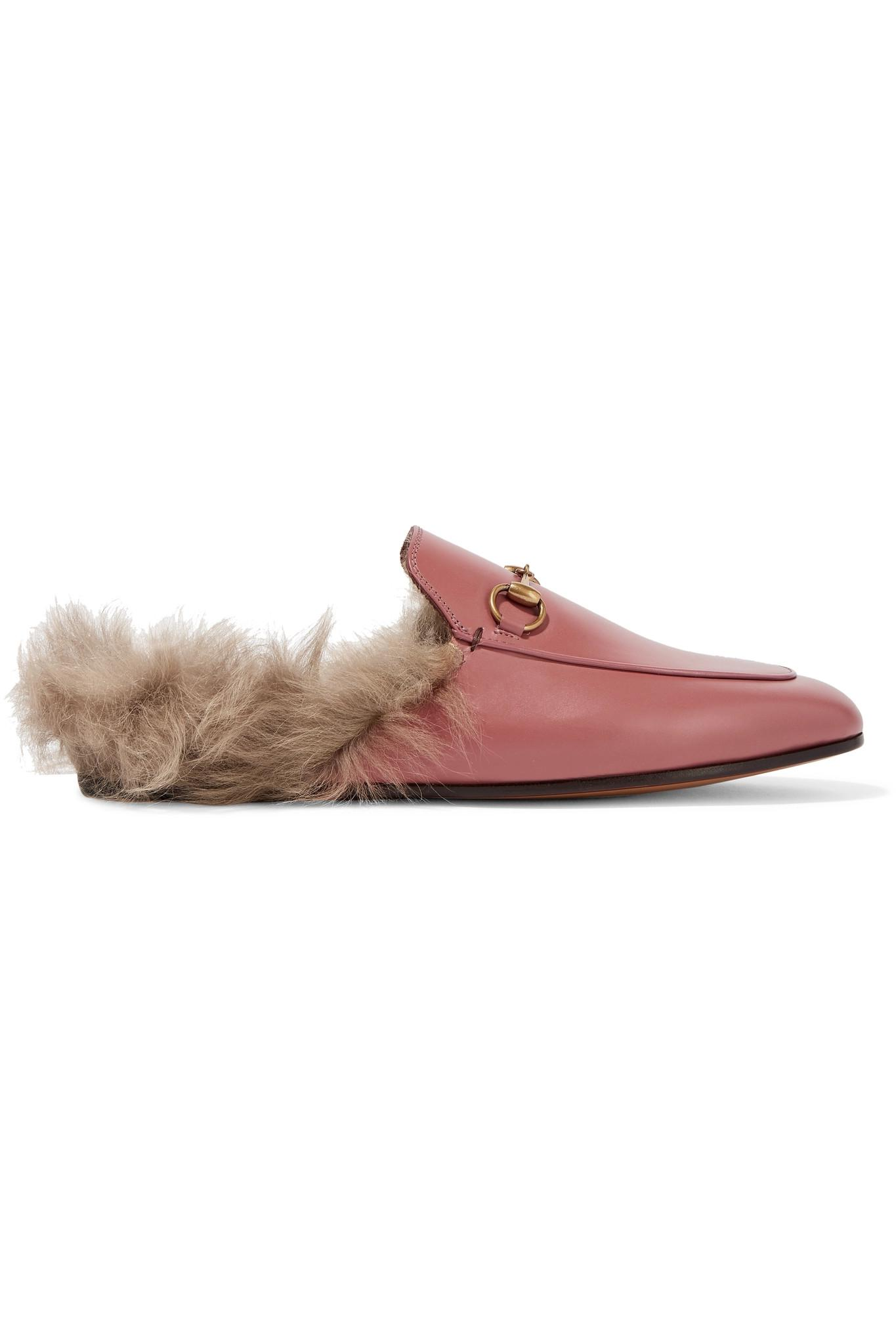 51ff84b6ea2 Gucci. Women s Pink Princetown Horsebit-detailed Shearling-lined Leather  Slippers