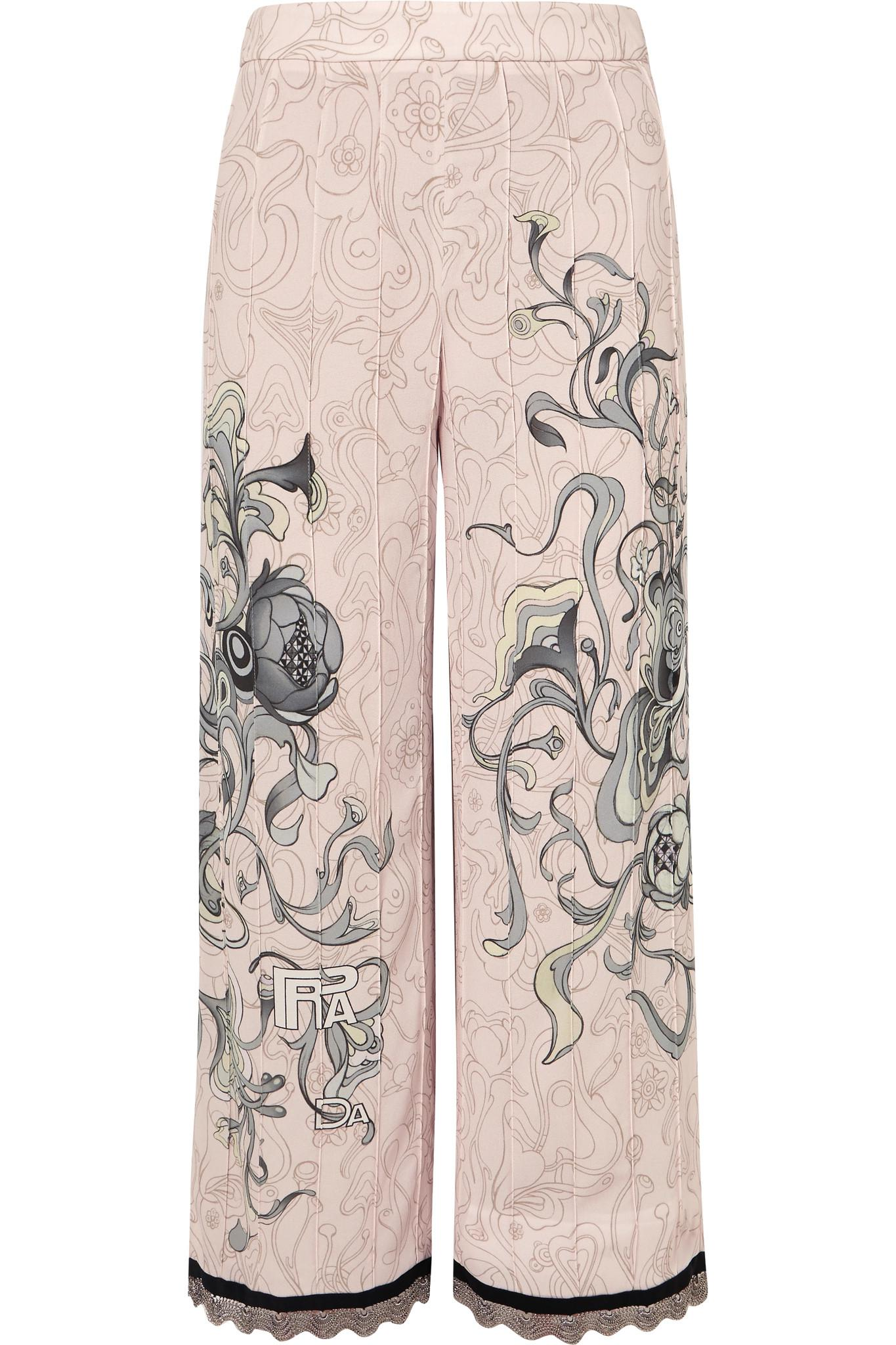 Cropped Chain-trimmed Printed Crepe Straight-leg Pants - Pastel pink Prada 1c8uS