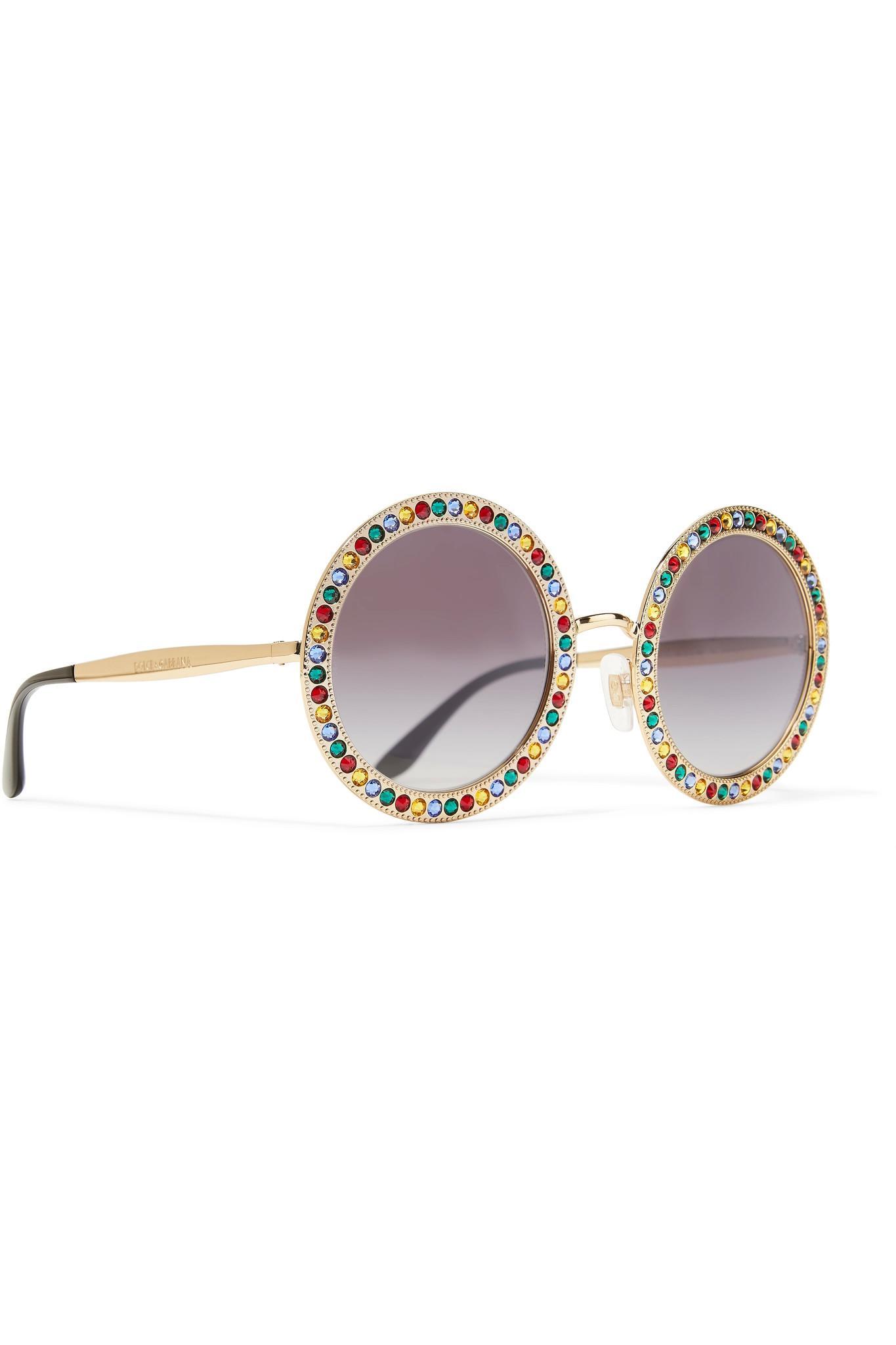 44133c1df690 Lyst - Dolce   Gabbana Crystal-embellished Round-frame Gold-tone ...