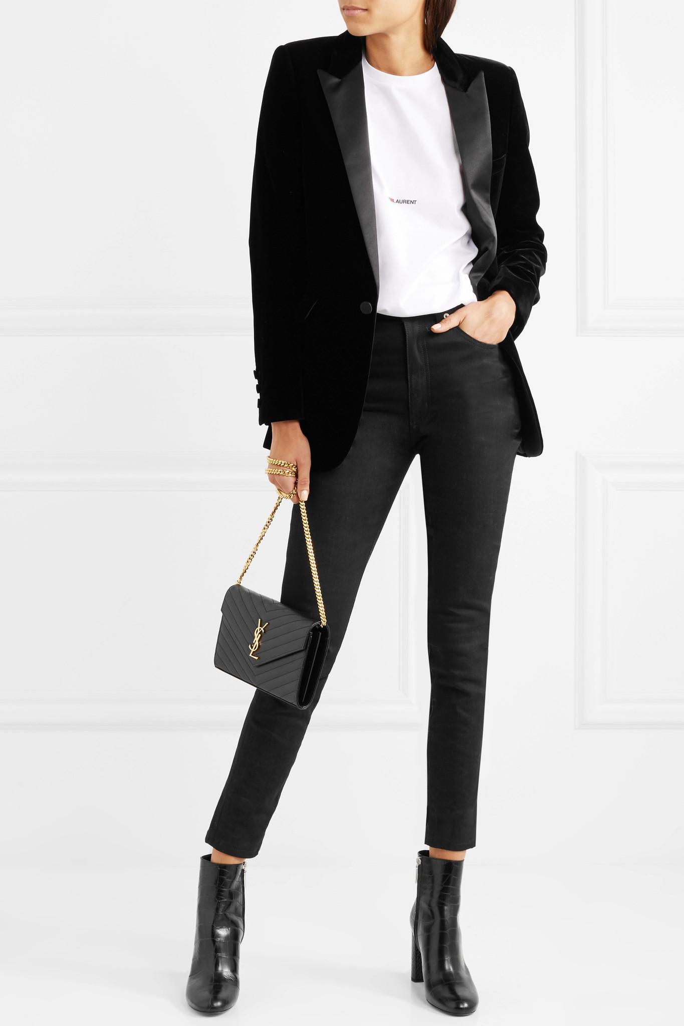 e115a7828d4 Saint Laurent Loulou Croc-effect Leather Ankle Boots in Black - Lyst