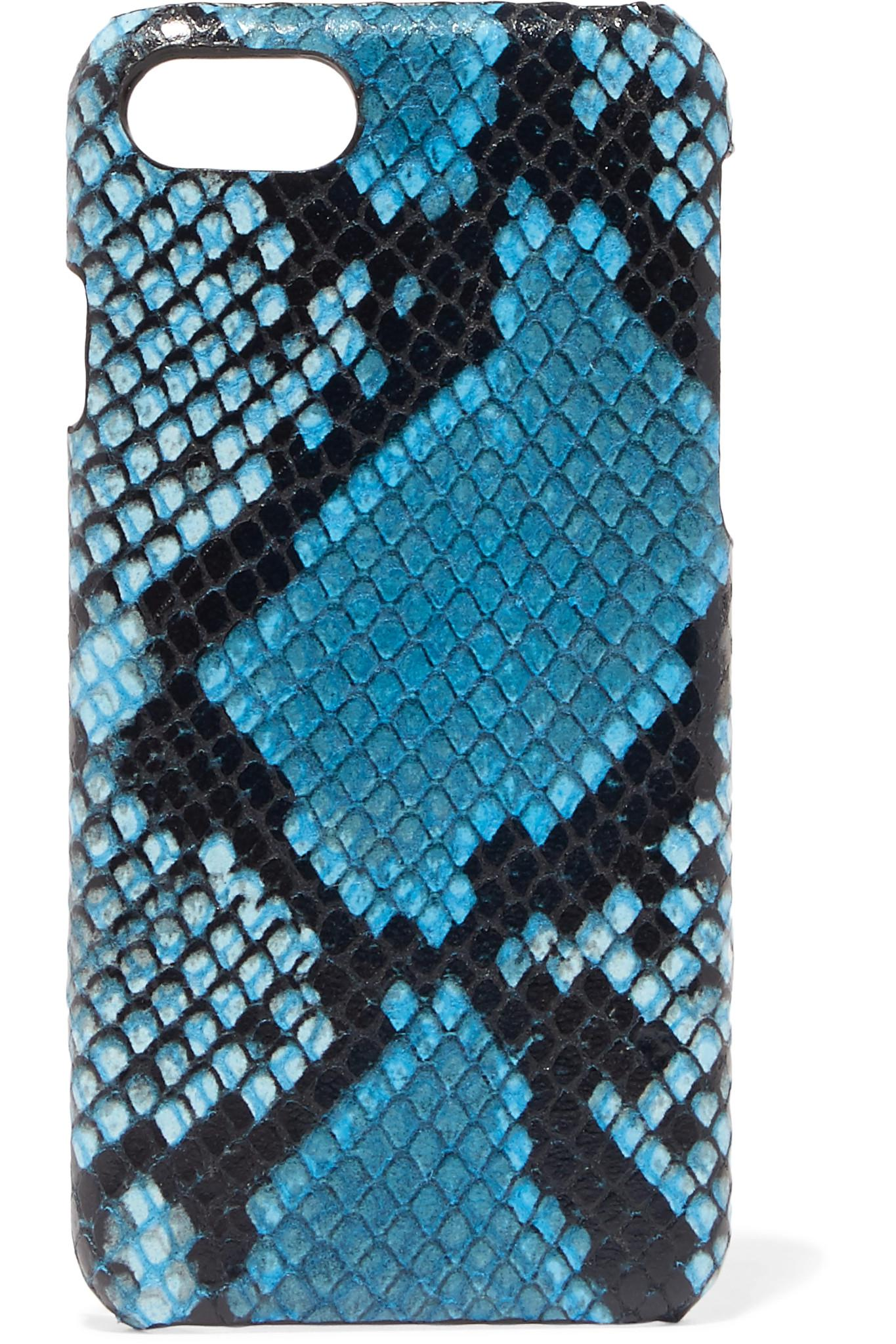 Printed Snake-effect Leather Iphone 7 And 8 Case - Blue The Case Factory clqK524qBu