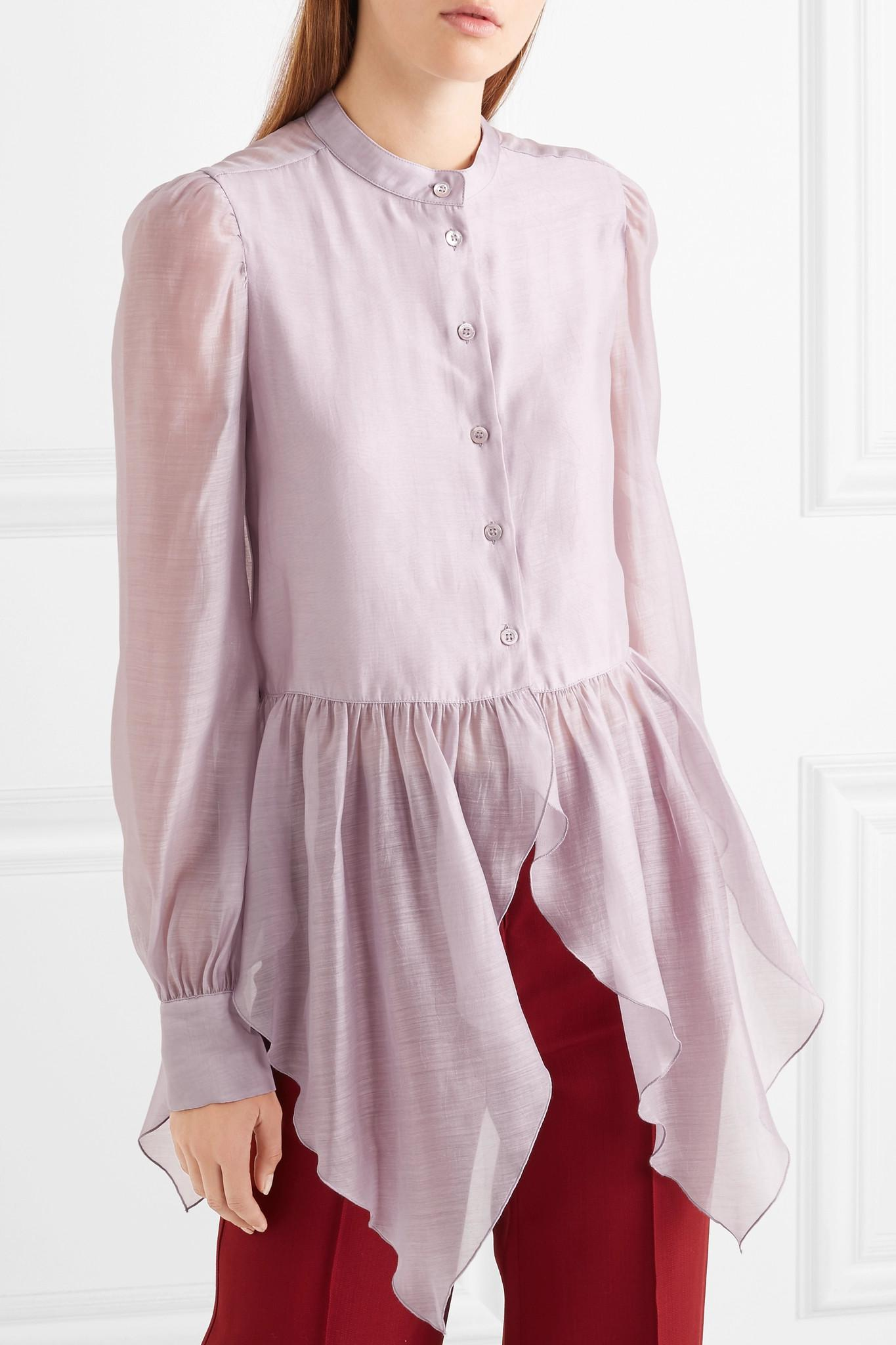 ce24a46213fab See By Chloé - Multicolor Ruffled Organza Peplum Blouse - Lyst. View  fullscreen