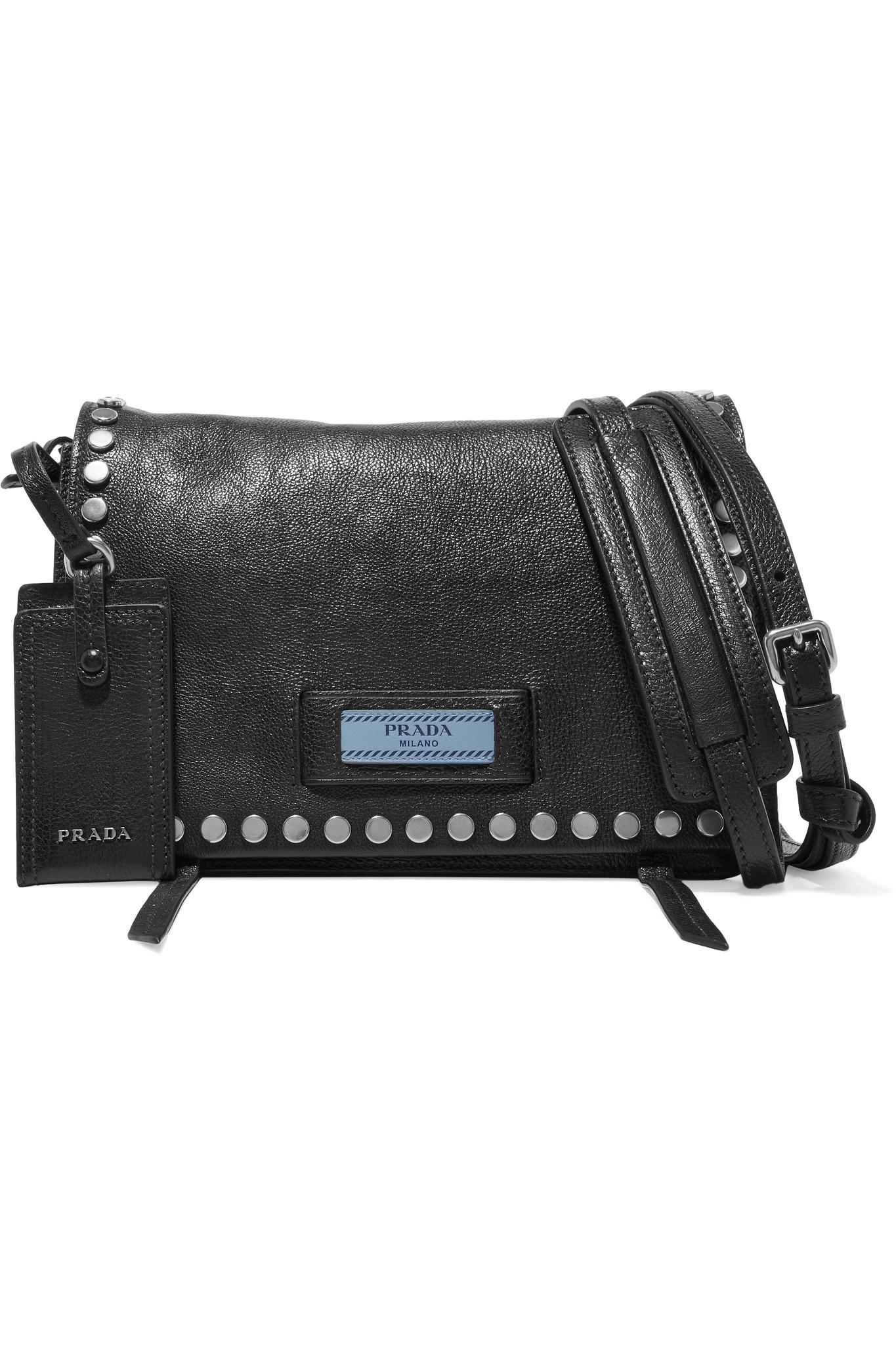 4a564fda22 Prada. Women s Black Etiquette Small Studded Textured-leather Shoulder Bag