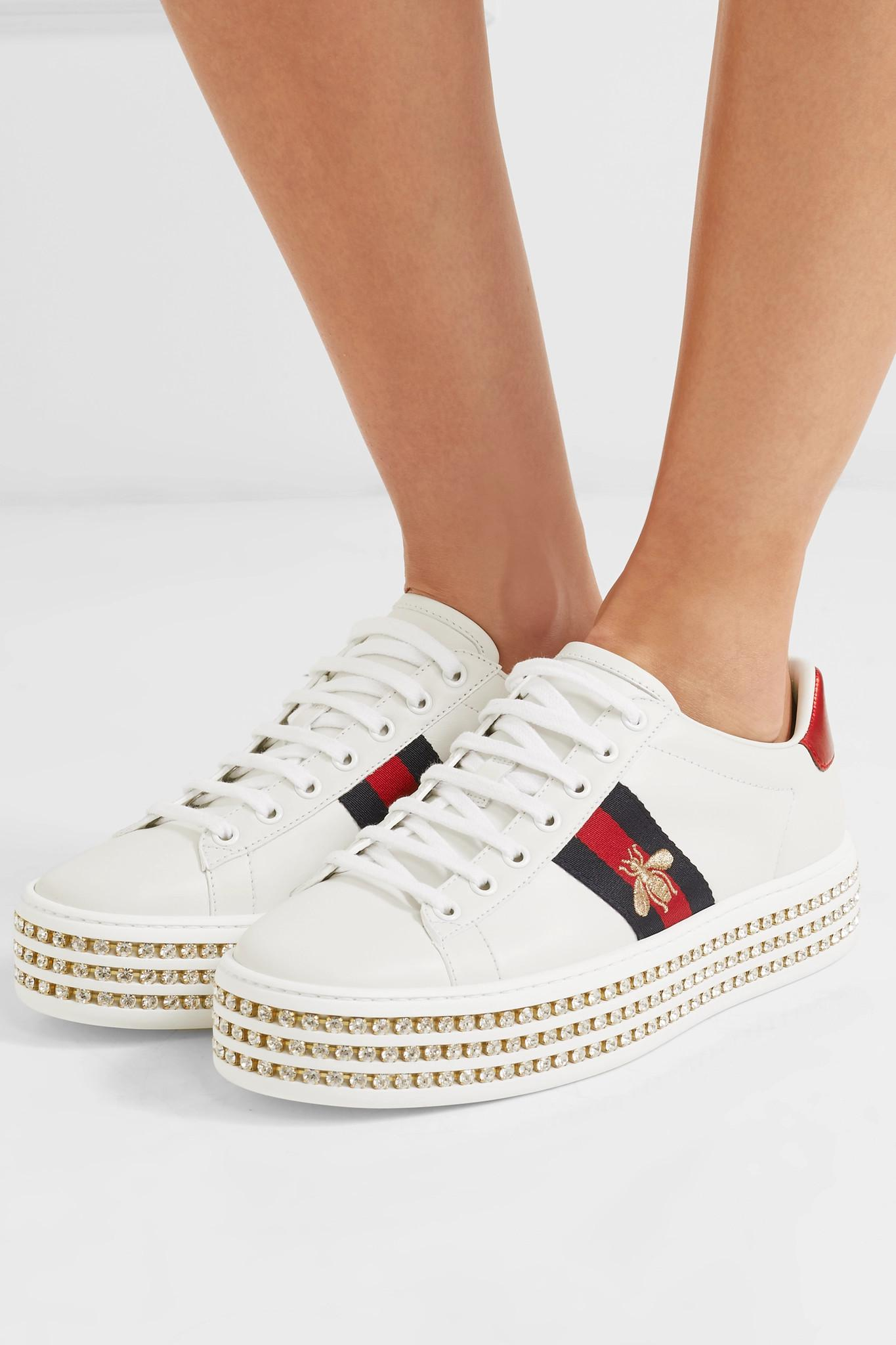 0ba75e33c09 Gucci - White Ace Sneaker With Crystals - Lyst. View fullscreen