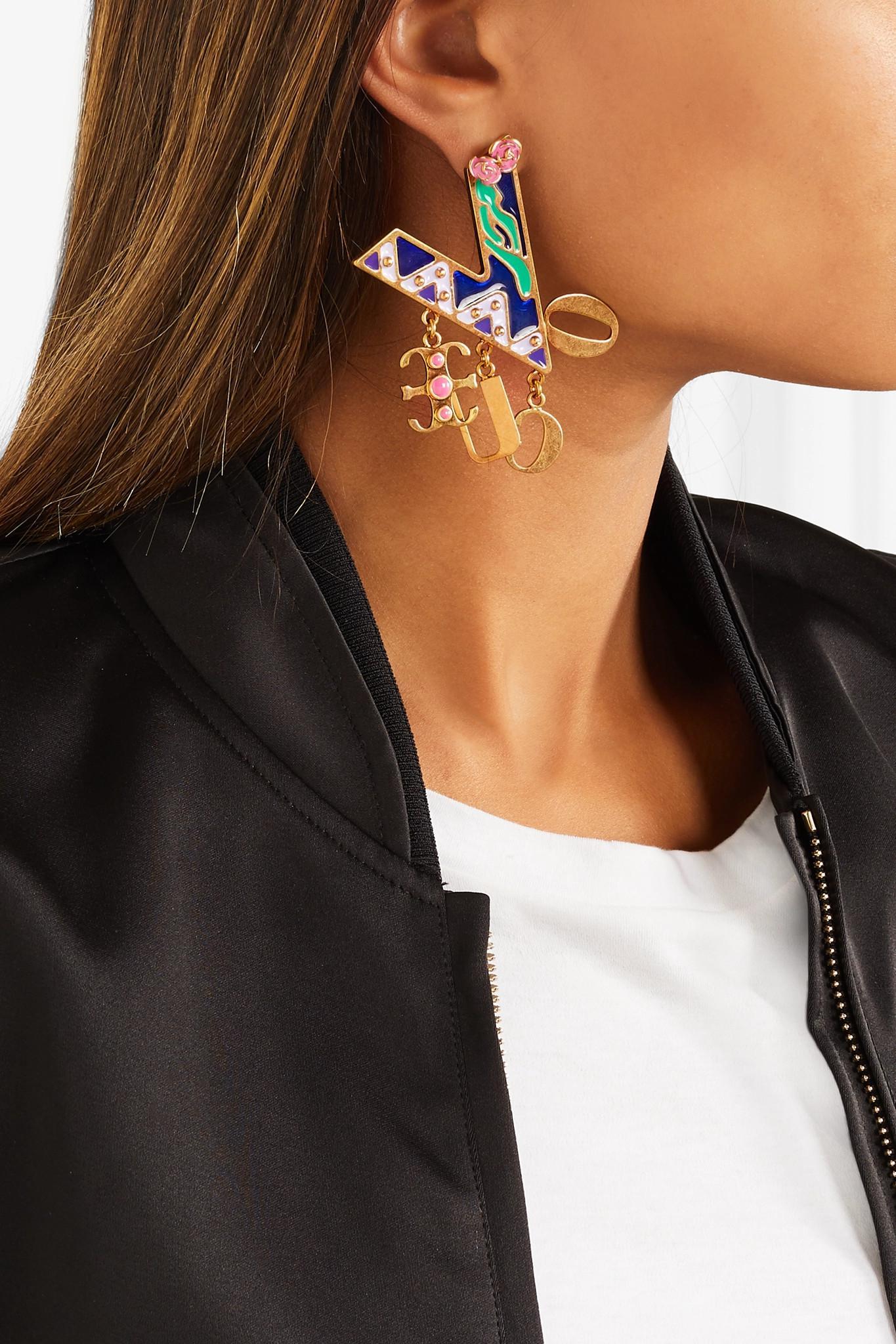 Gold-tone Enamel Earrings - Blue Versace tbl5d0W7X