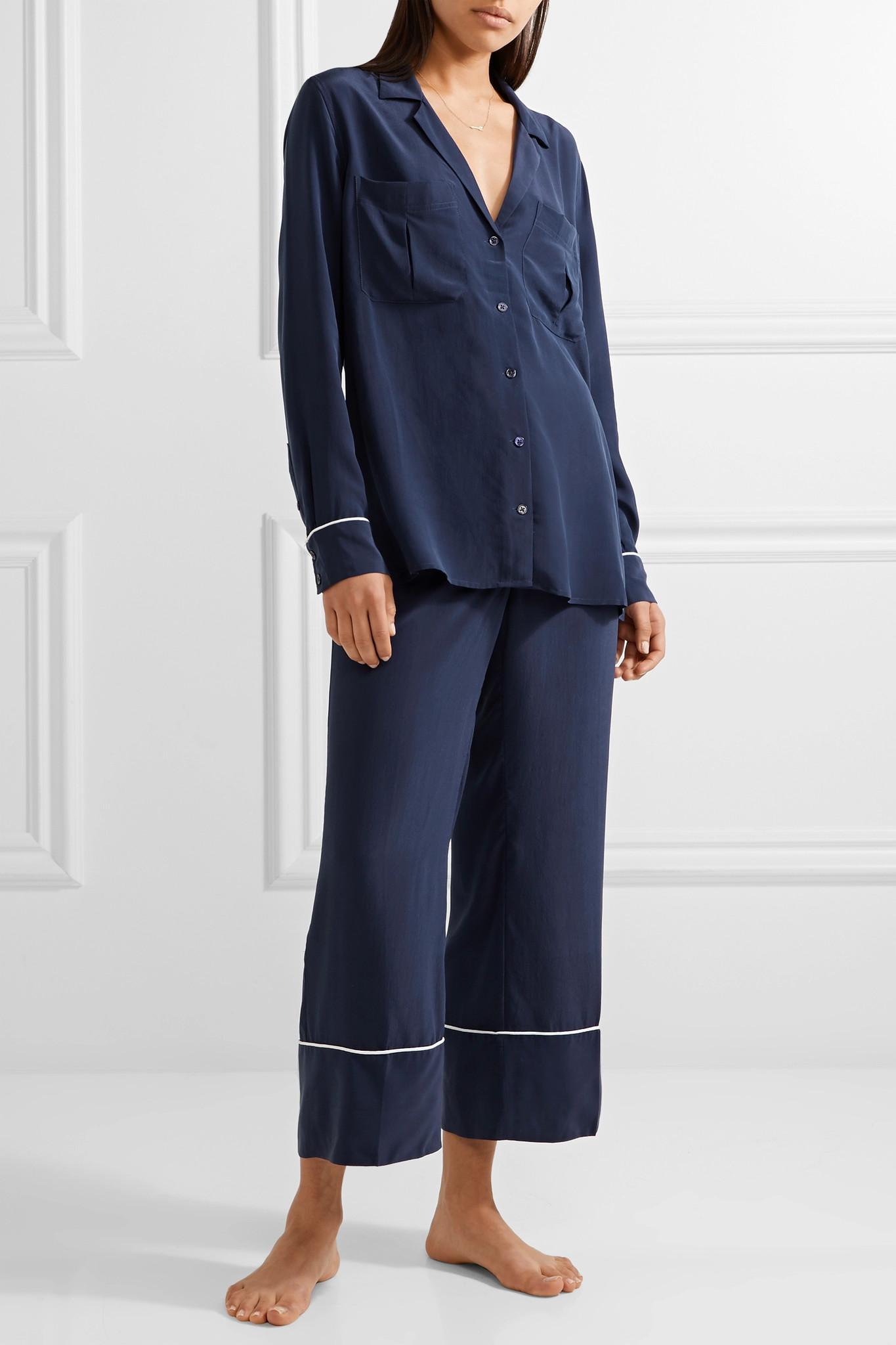 Lyst - Equipment Sonny Washed-silk Pajama Set in Blue 735309361