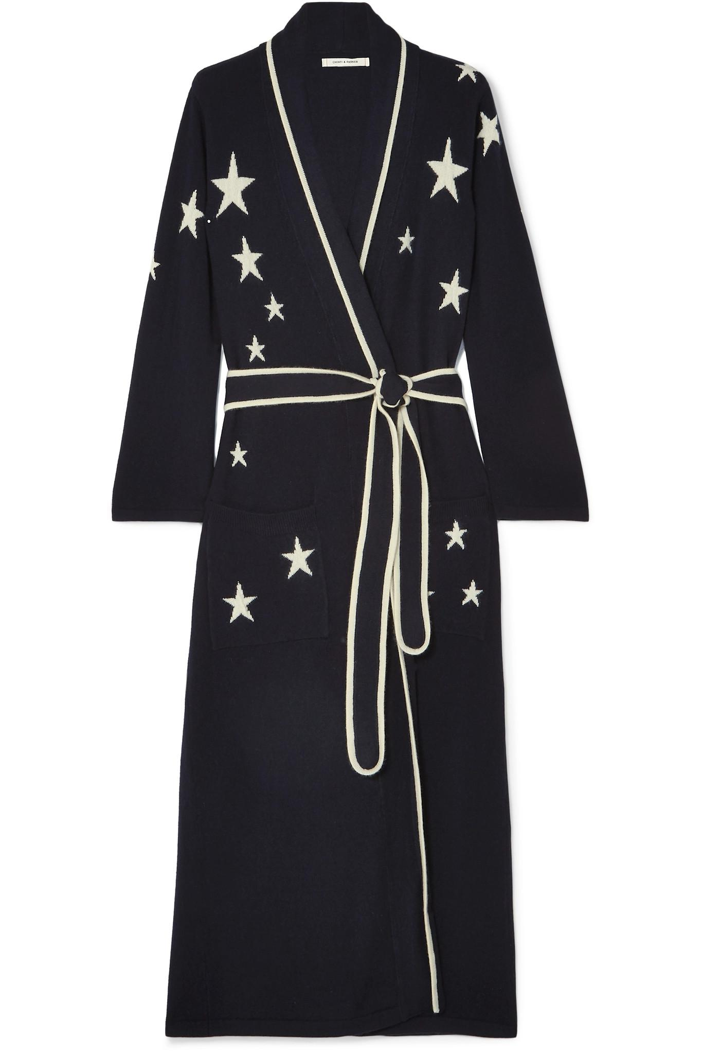 b26b06fee2 Chinti   Parker Star-intarsia Cashmere Dressing Gown in Blue - Lyst