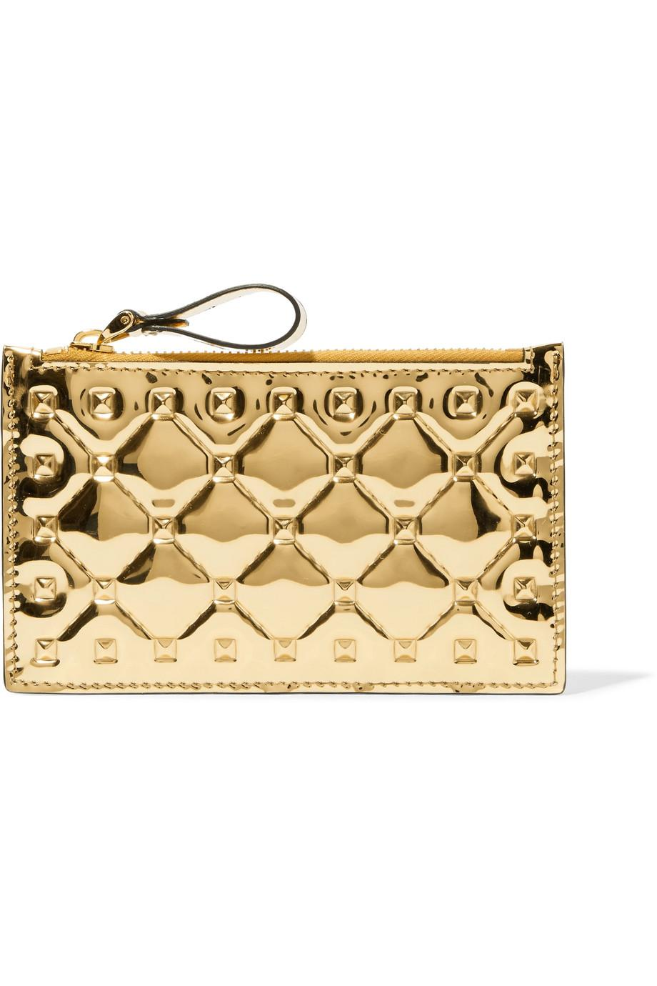 Valentino Garavani The Rockstud Spike Embossed Mirrored-leather Wallet - Gold Valentino P94rK