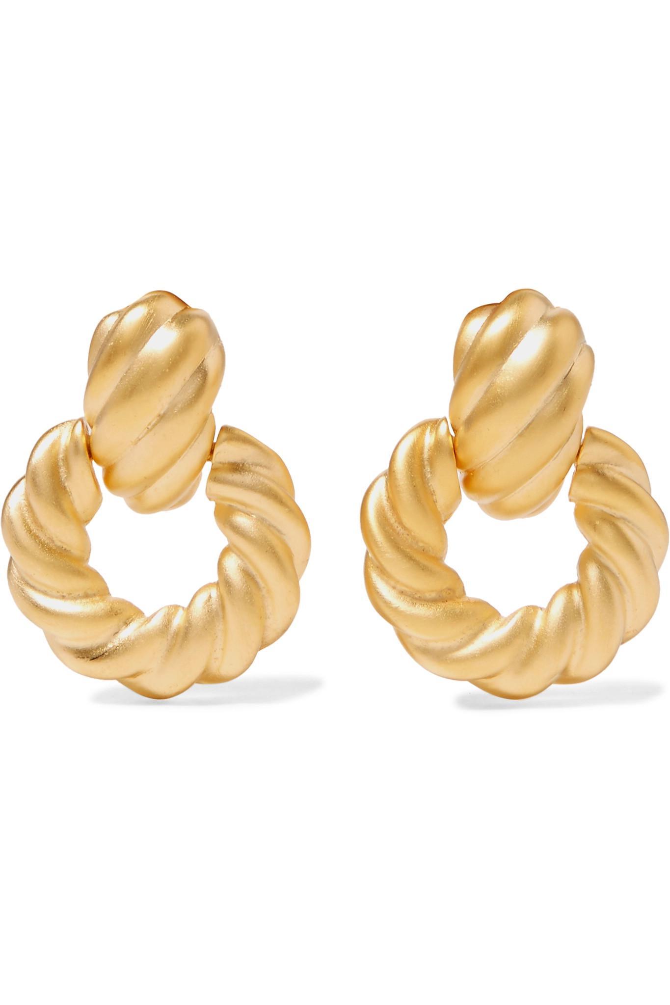 Gold-tone Enamel Clip Earrings - Black Kenneth Jay Lane 9rmqz14t9