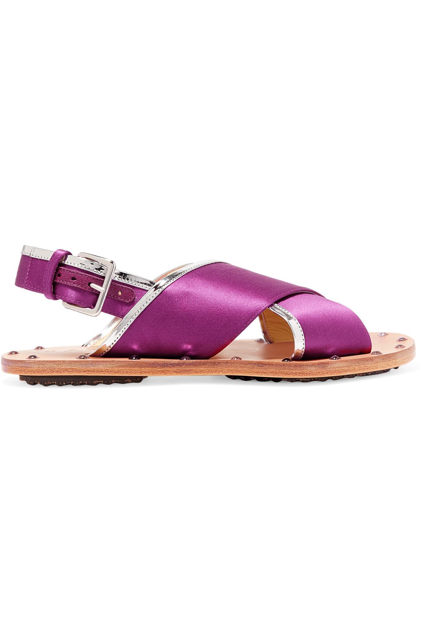 Marni Cloutés Sandales À Franges - Rose Et Violet hB7Wy