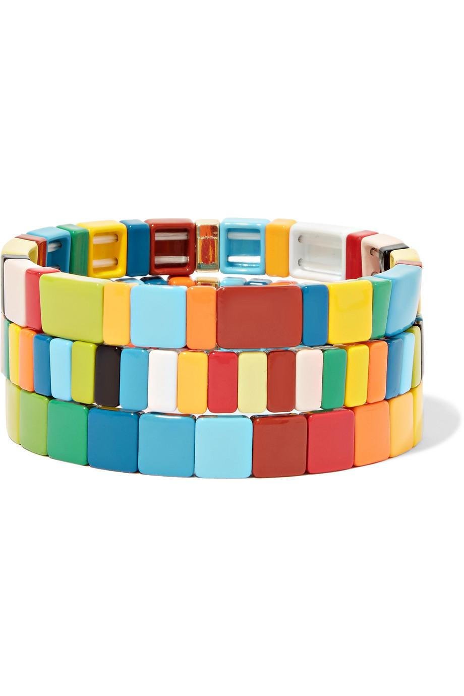 Roxanne Assoulin Set of Three Starburst Block Party Enamel Bracelets sOqFwq