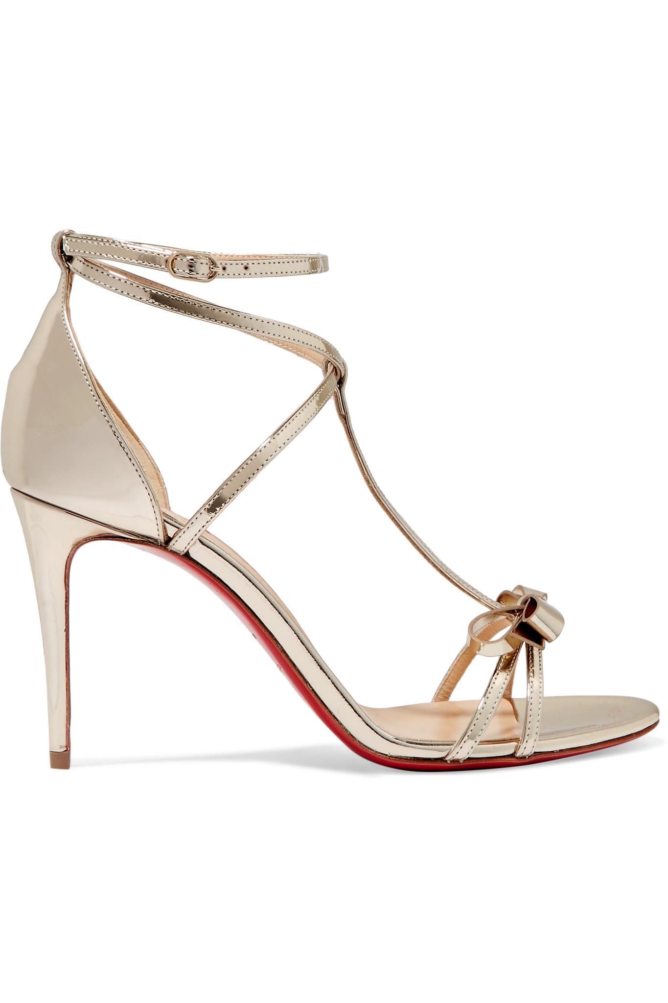 6a7dee0b5ea7 Christian Louboutin Blakissima 85 Bow-embellished Metallic Leather ...