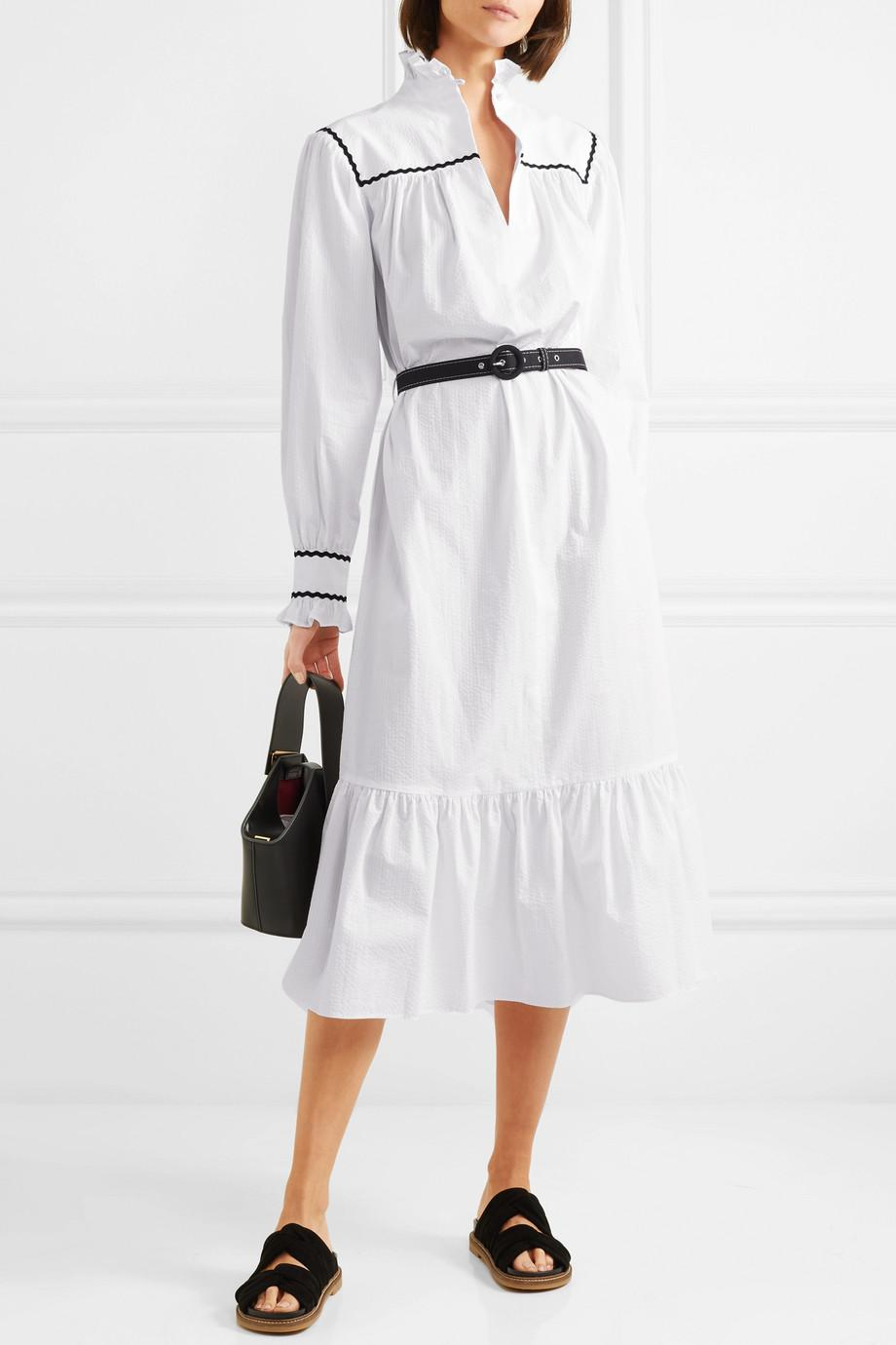 Free Shipping Low Price Ruffle-trimmed Cotton-seersucker Midi Dress - White AlexaChung Discount Shopping Online Clearance Good Selling Wear Resistance 2018 Unisex Cheap Online rTzsj