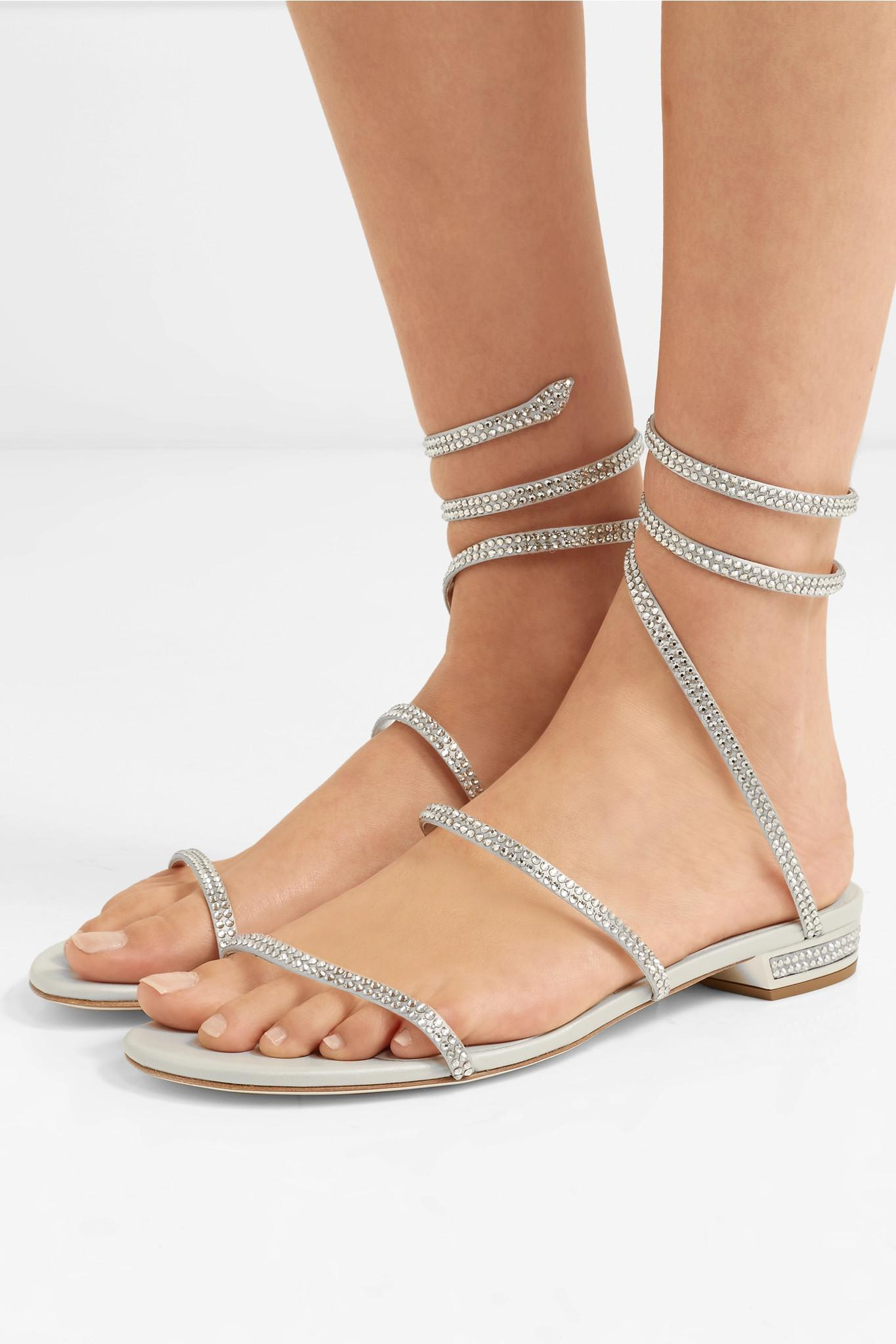 6d94e887deddf8 Rene Caovilla - Cleo Crystal-embellished Metallic Leather Sandals - Lyst.  View fullscreen