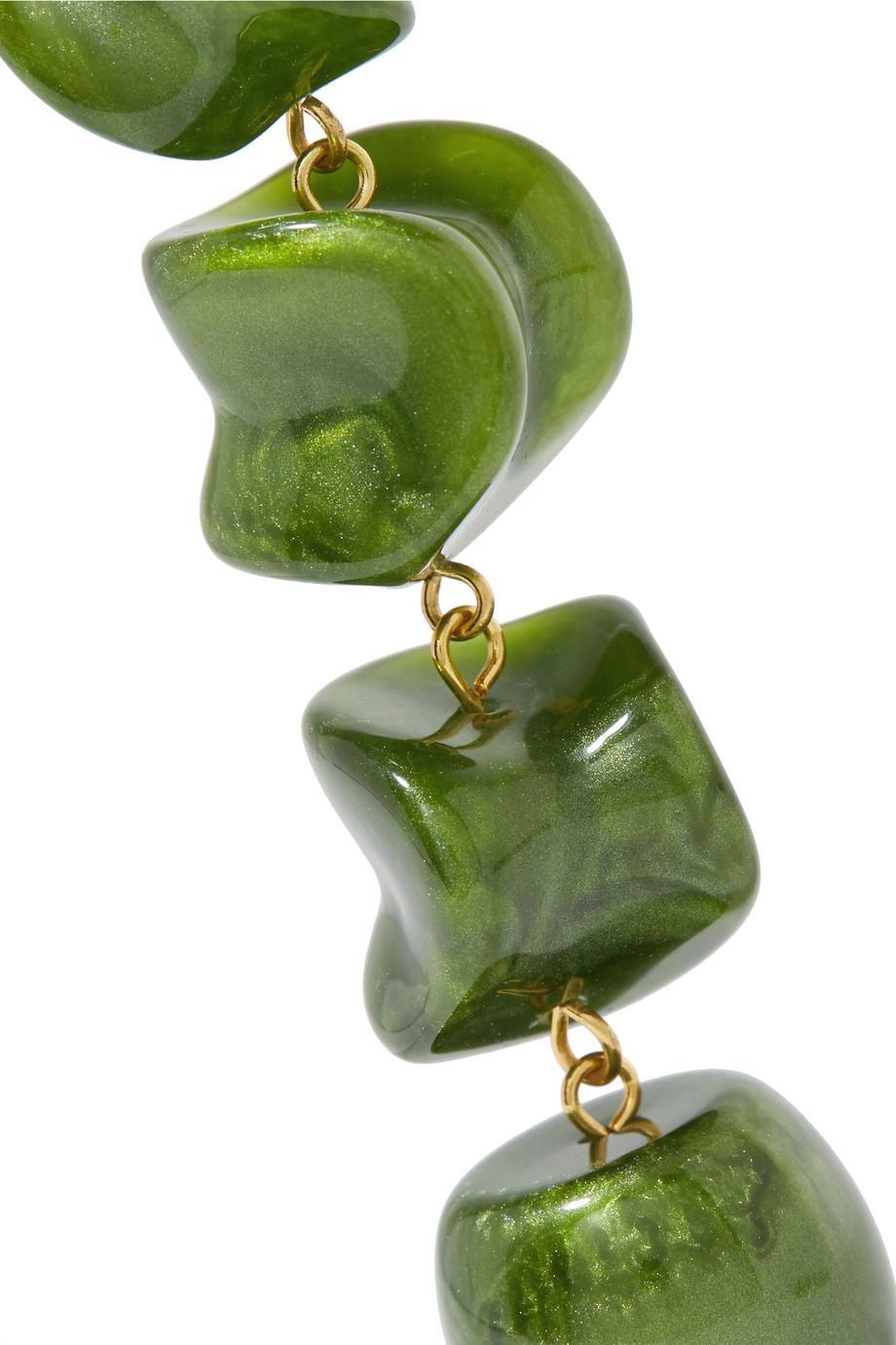 Leo Gold-tone Resin Earrings - Green Cult Gaia bPcwzfbTPj