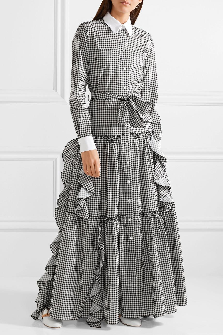 Ruffled Gingham Cotton-poplin Maxi Dress - Black Sara Battaglia UIL9nO