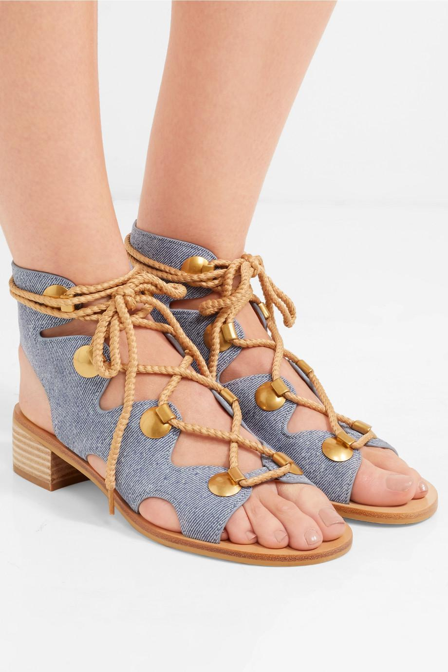 「See By Chloé Women's Denim Lace Up Sandals - Denim」的圖片搜尋結果