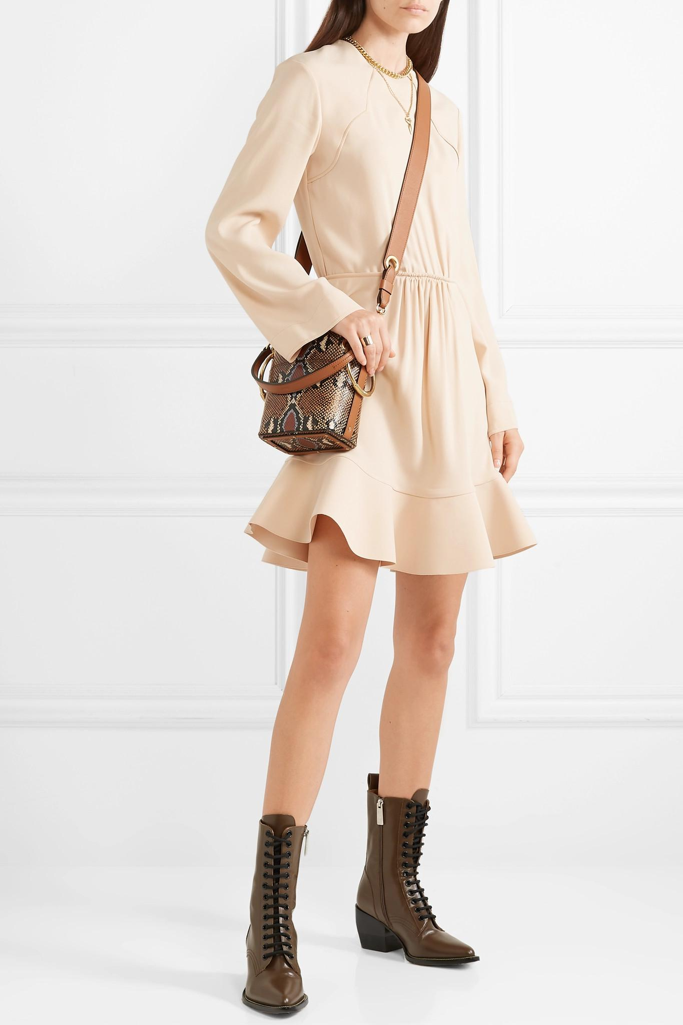 d11d2c0db9a55 Lyst - Chloé Gathered Crepe De Chine Dress in Natural