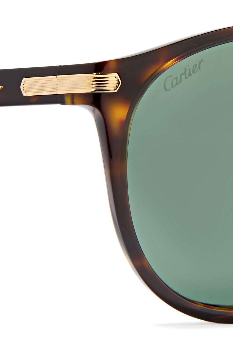 Lyst - Cartier D-frame Acetate And Gold-tone Sunglasses in Green